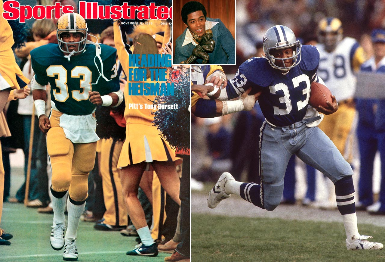 Dorsett, a first-round selection of the Cowboys in 1977, won Rookie of the Year when he ran for 1,007 yards and 12 touchdowns. He would continue his torrid pace, reaching the 1,000-yard mark in eight of his first nine seasons. Dorsett totaled 16,326 yards from scrimmage and scored 546 points on 91 touchdowns in 12 seasons.