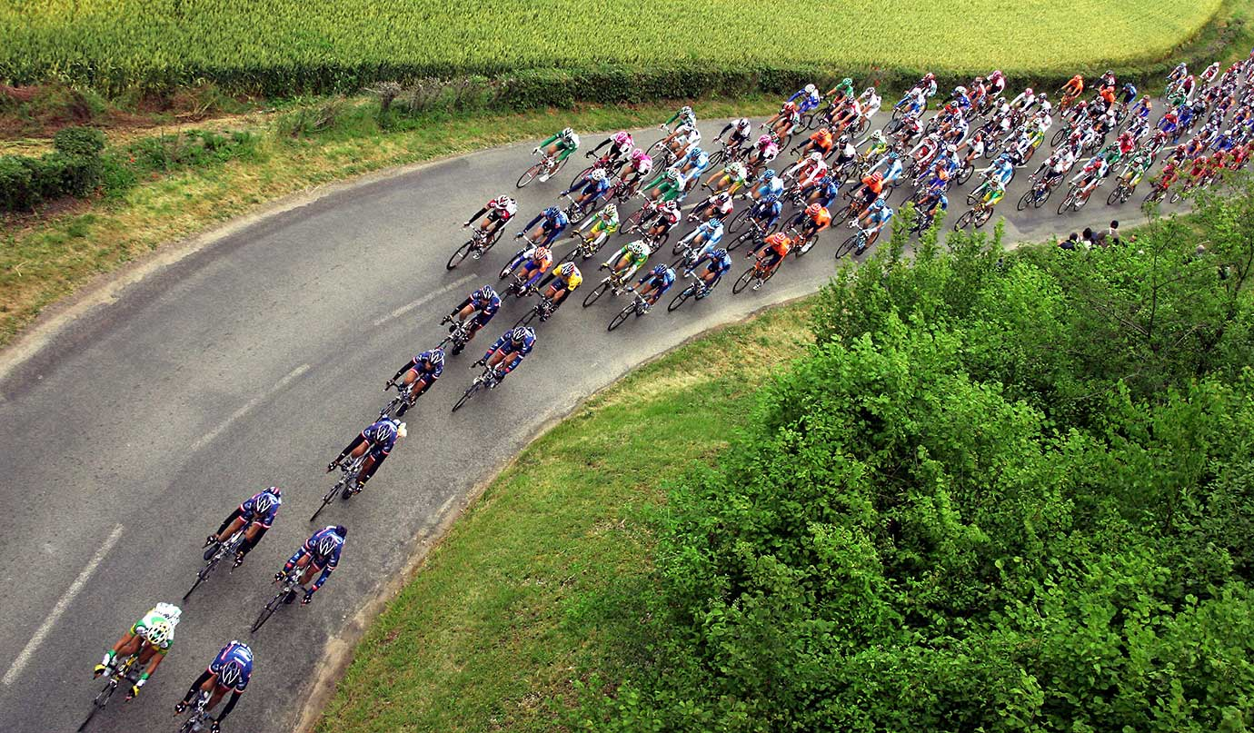 The pack rides during the fifth stage of the 2004 Tour de France cycling race between Amiens and Chartres.