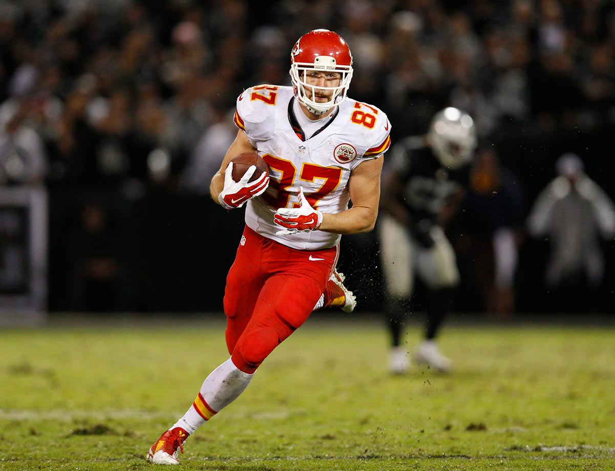 Kelce's profile was dragged down by Kansas City's far-from-productive passing game last season, but he ranked fourth overall at his position in Football Outsiders' opponent-adjusted metrics and tied for the team lead with five receiving touchdowns. Not a lot of deep passes from Alex Smith, but Kelce caught all three deep passes thrown to him in 2014 for 73 yards and a touchdown.