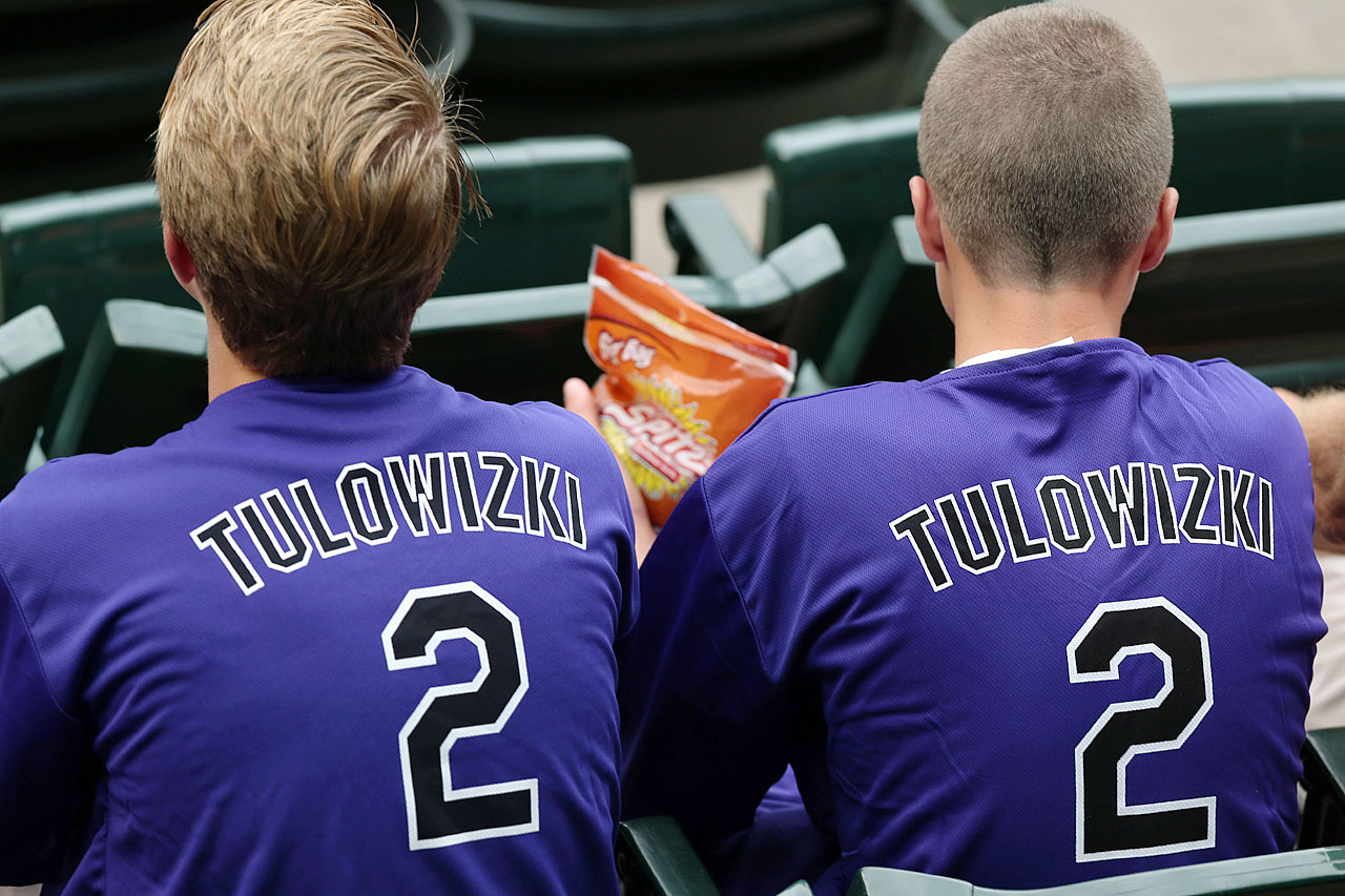 "The first 15,000 fans received Troy Tulowitzki jerseys, missing a ""T"" and misspelled ""TULOWIZKI,"" for the Colorado Rockies home game vs. the Pirates on July 26, 2014."