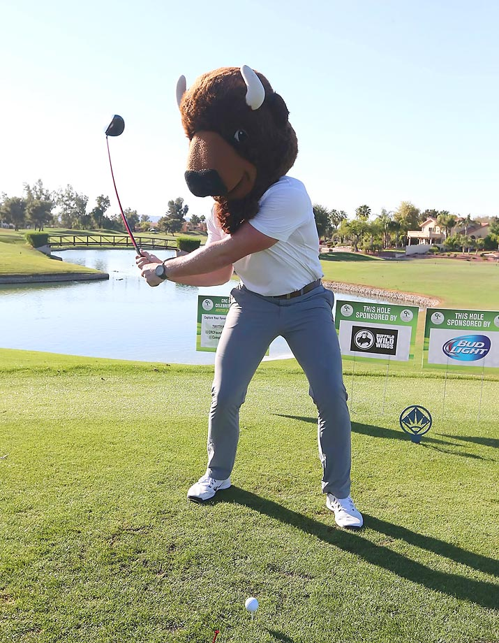 Troy Niklas was having some fun wearing a Buffalo Wild Wings mascot head during the Arizona Cardinals Calais Campbell's annual celebrity golf classic.