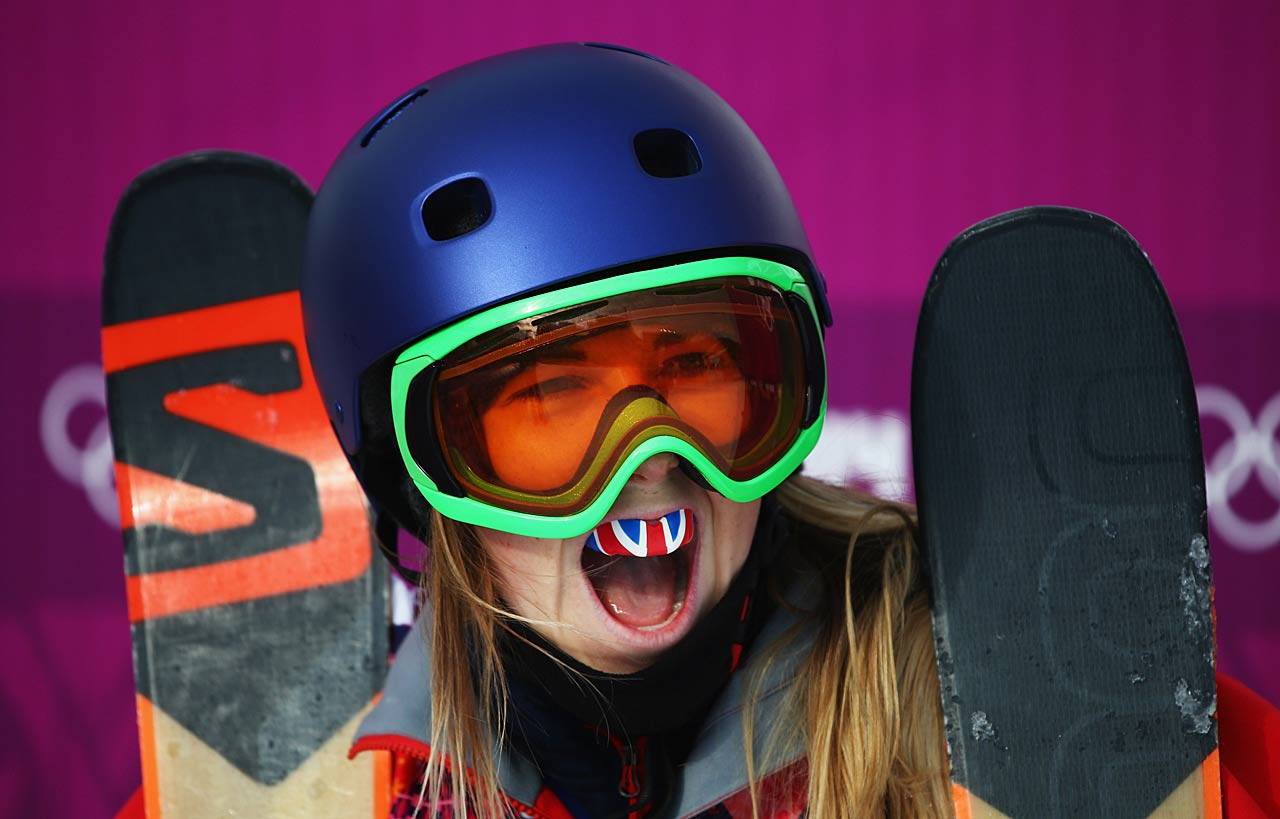 Katie Summerhayes of Great Britain ceebrates during the Freestyle Skiing Women's Slopestyle Qualification.