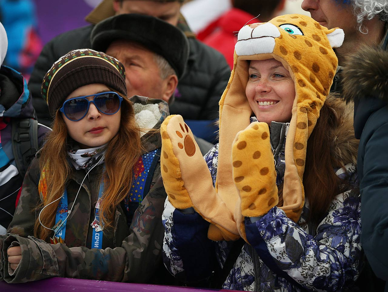 Fans look on during the Freestyle Skiing Women's Ski Slopestyle Finals.