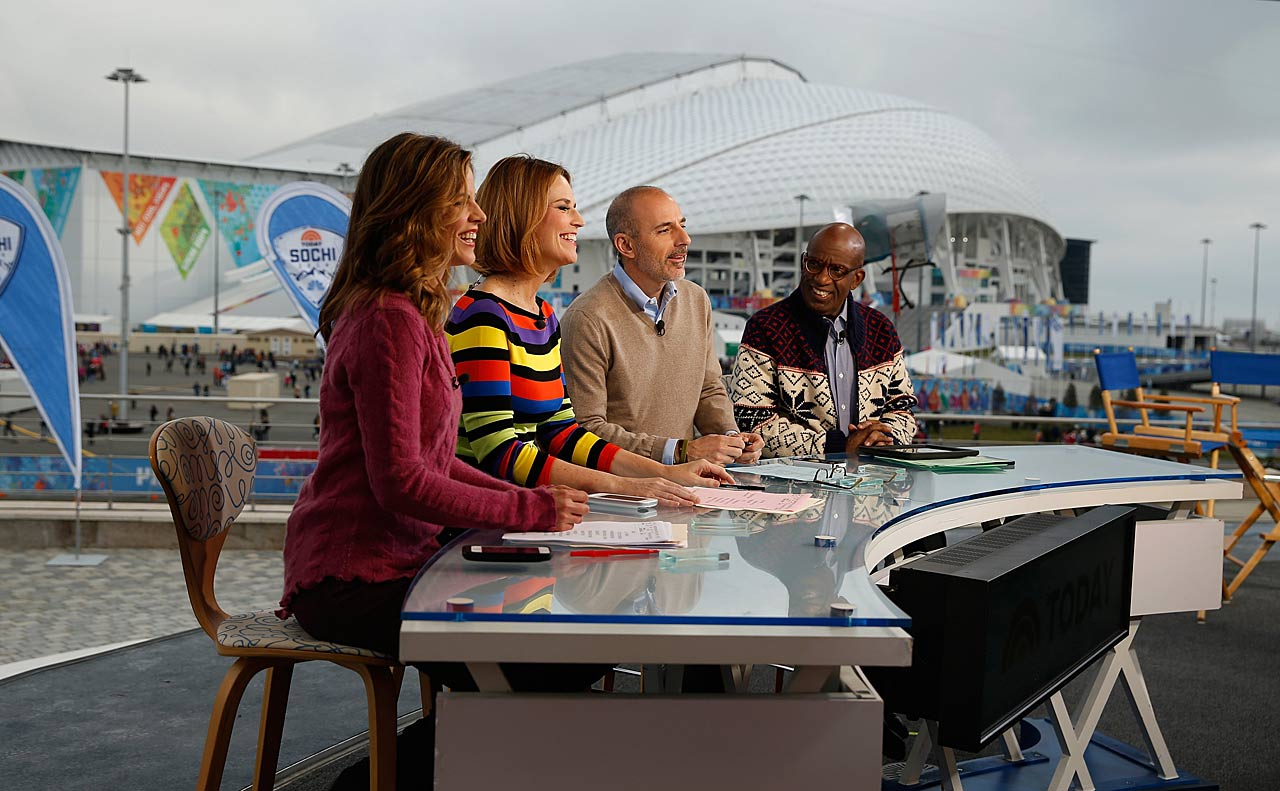 Natalie Morales, Savannah Guthrie, Matt Lauer and Al Roker wait on the set of the NBC TODAY Show.