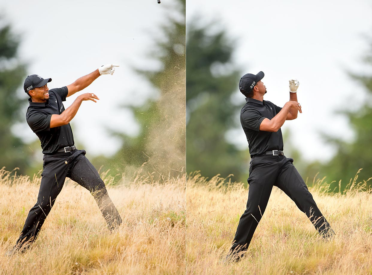 Tiger Woods looses grip of a club after making a swing at the U.S. Open.