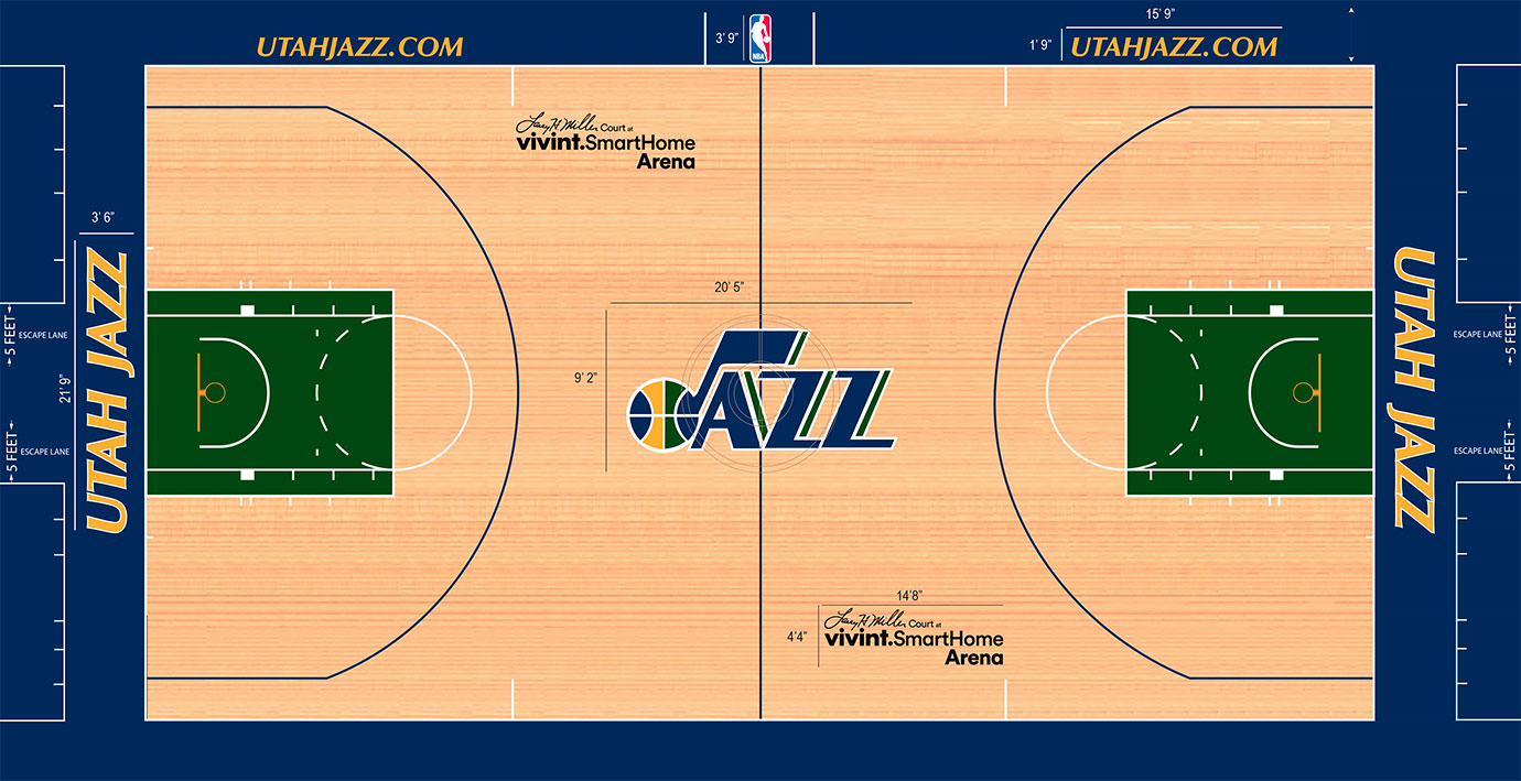 The Jazz have long felt like a team in a permanent identity crisis. At least for now, green is the color du jour. But that deep green clashes slightly with the blue baseline and apron, a simple strike against what is otherwise a traditional design.