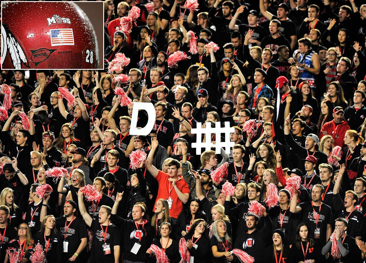 "When Utah made the leap to the Pac-12 in 2011, the program brought along one of the most enthusiastic student sections in all of college sports: the MUSS.  The name comes from the school song, though it is now an acronym for Mighty Utah Student Section.  The MUSS hang a Roman numeral ""V"" over the bleachers to tally each false start penalty. Opponents often find themselves struggling to hear over the immense crowd noise, which, coupled with the roughly 4,700-foot high altitude at Rice-Eccles Stadium, gives the Utes quite the home field advantage."