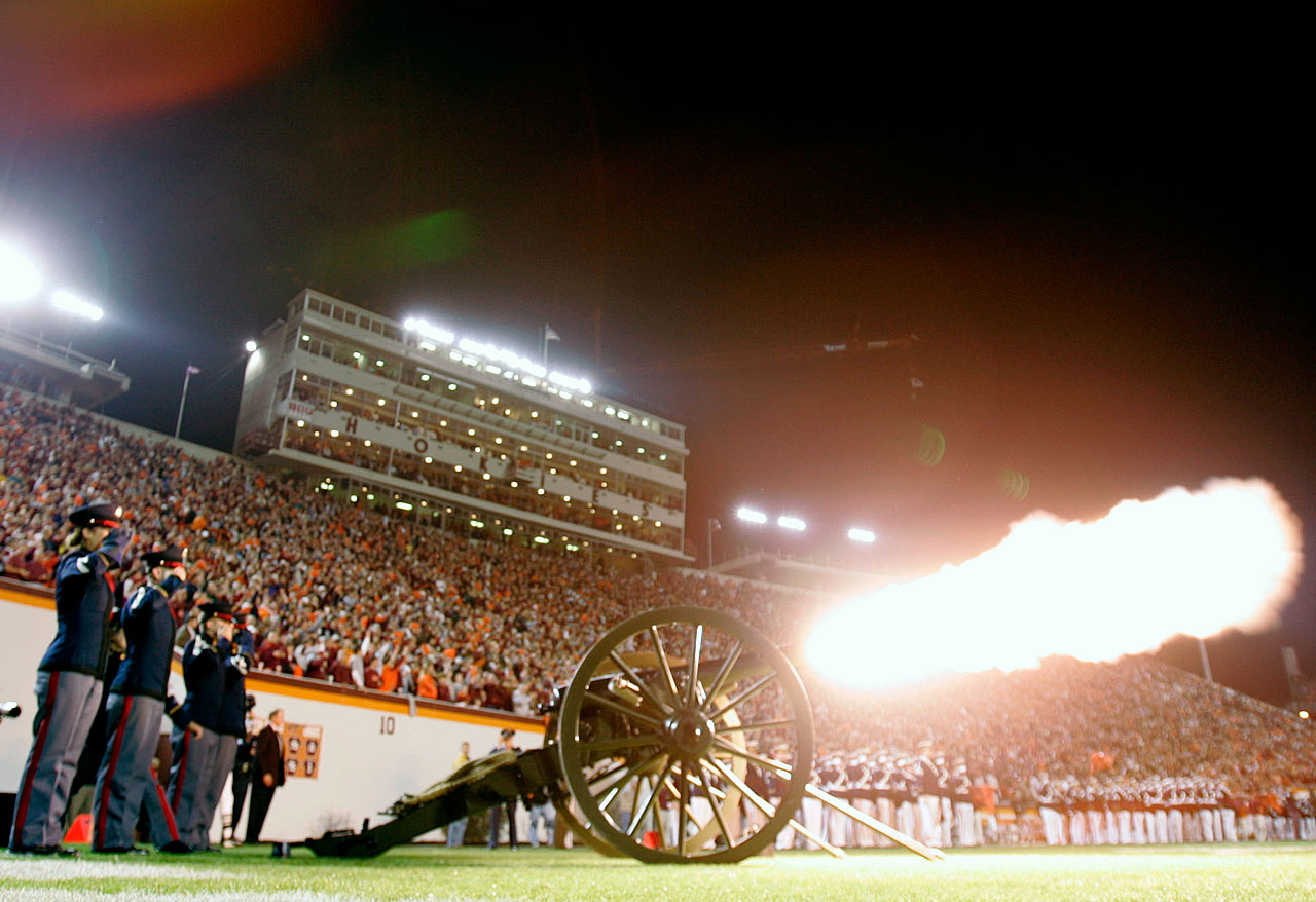 "For 50 years, Virginia Tech fans (and opponents) have heard ""Skipper"" booming out during Hokies games. Skipper is the name of Virginia Tech's working cannon, which fires off a blank blast each time the Hokies enter Lane Stadium and each time they score at home."