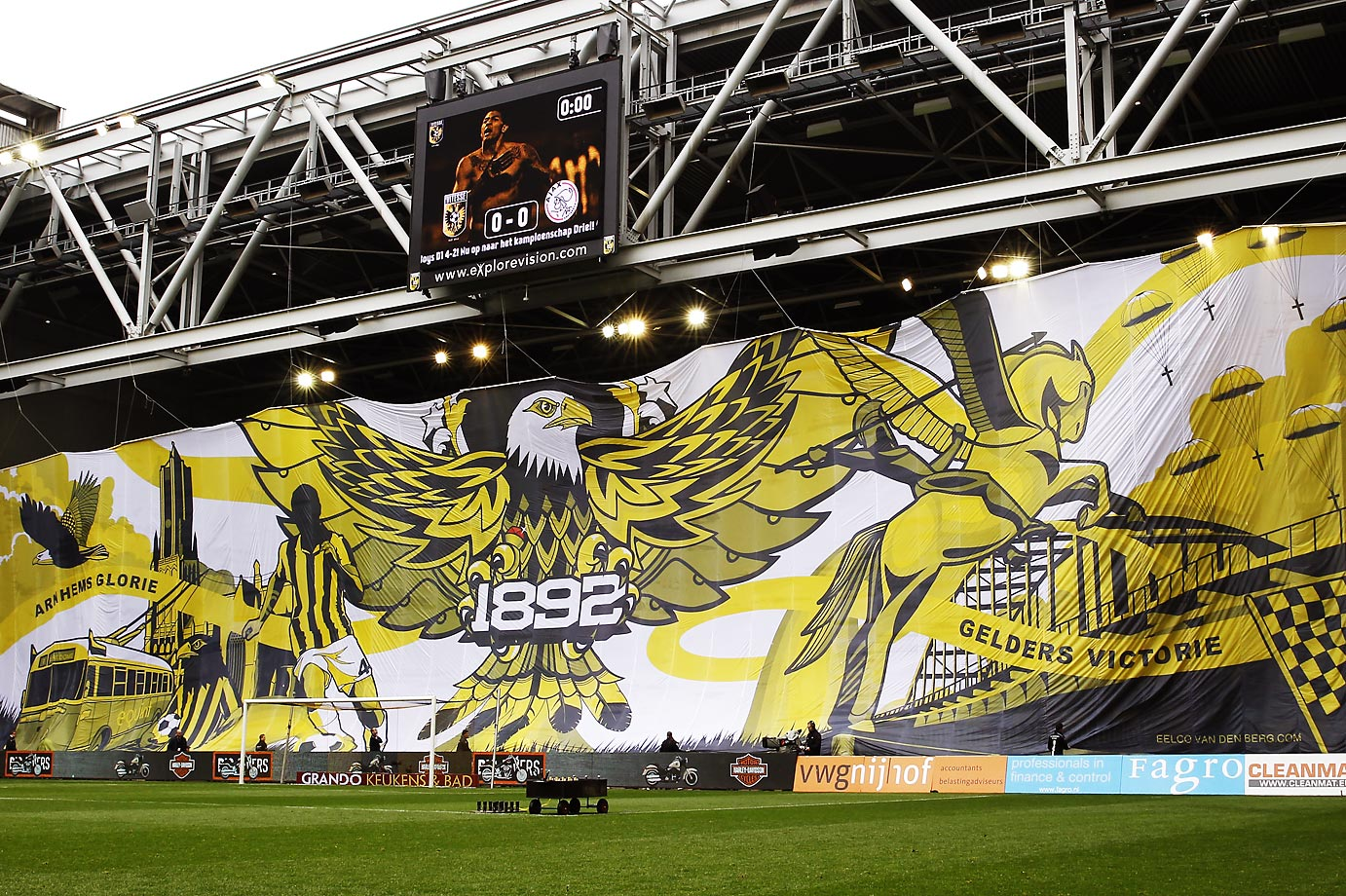 Vitesse fans unfurl a massive Eagle banner at the Dutch Eredivisie match against Ajax at the GelreDome.