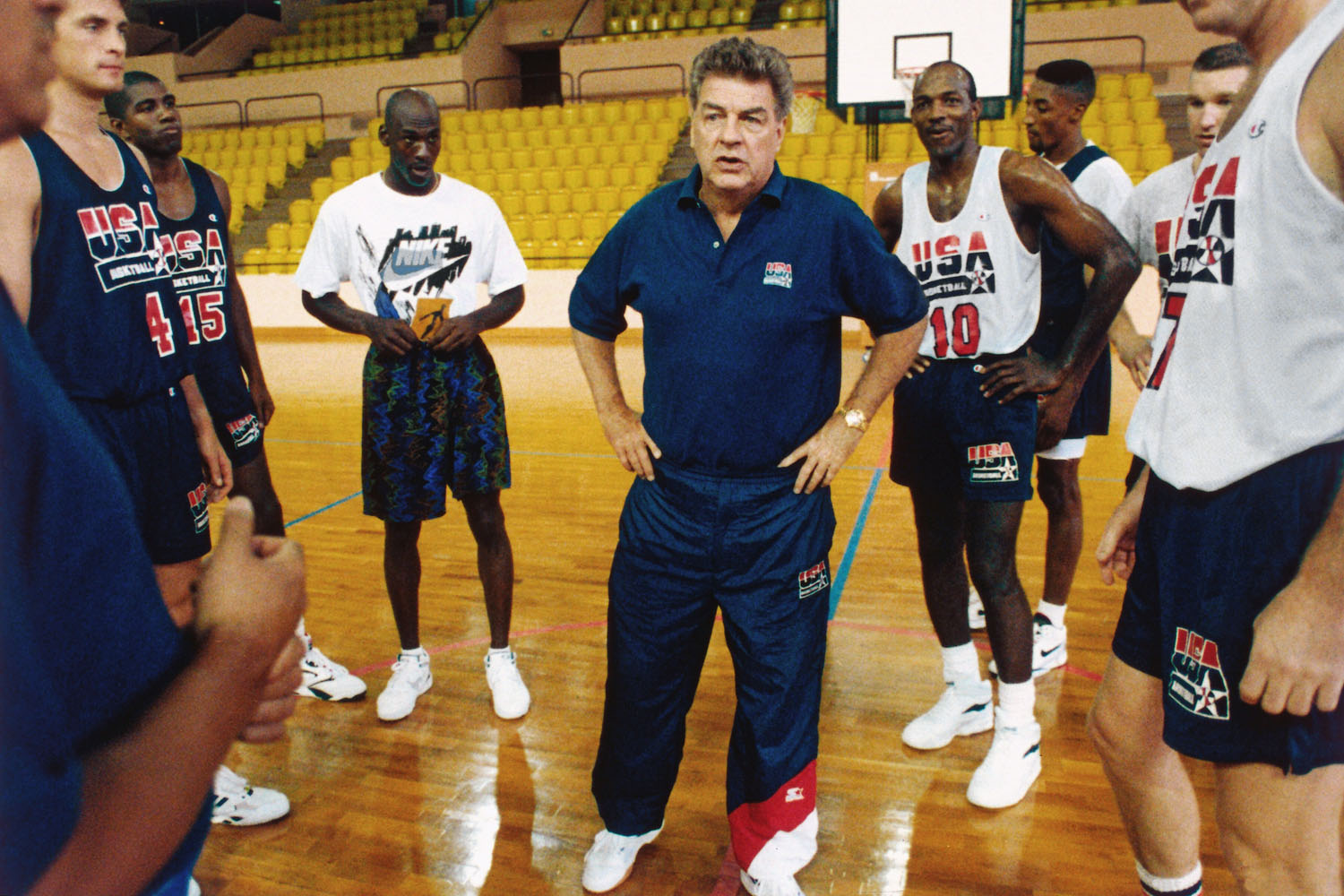 United States National Team head coach Chuck Daly talks to his team during a practice in June 1992 in La Jolla, California.
