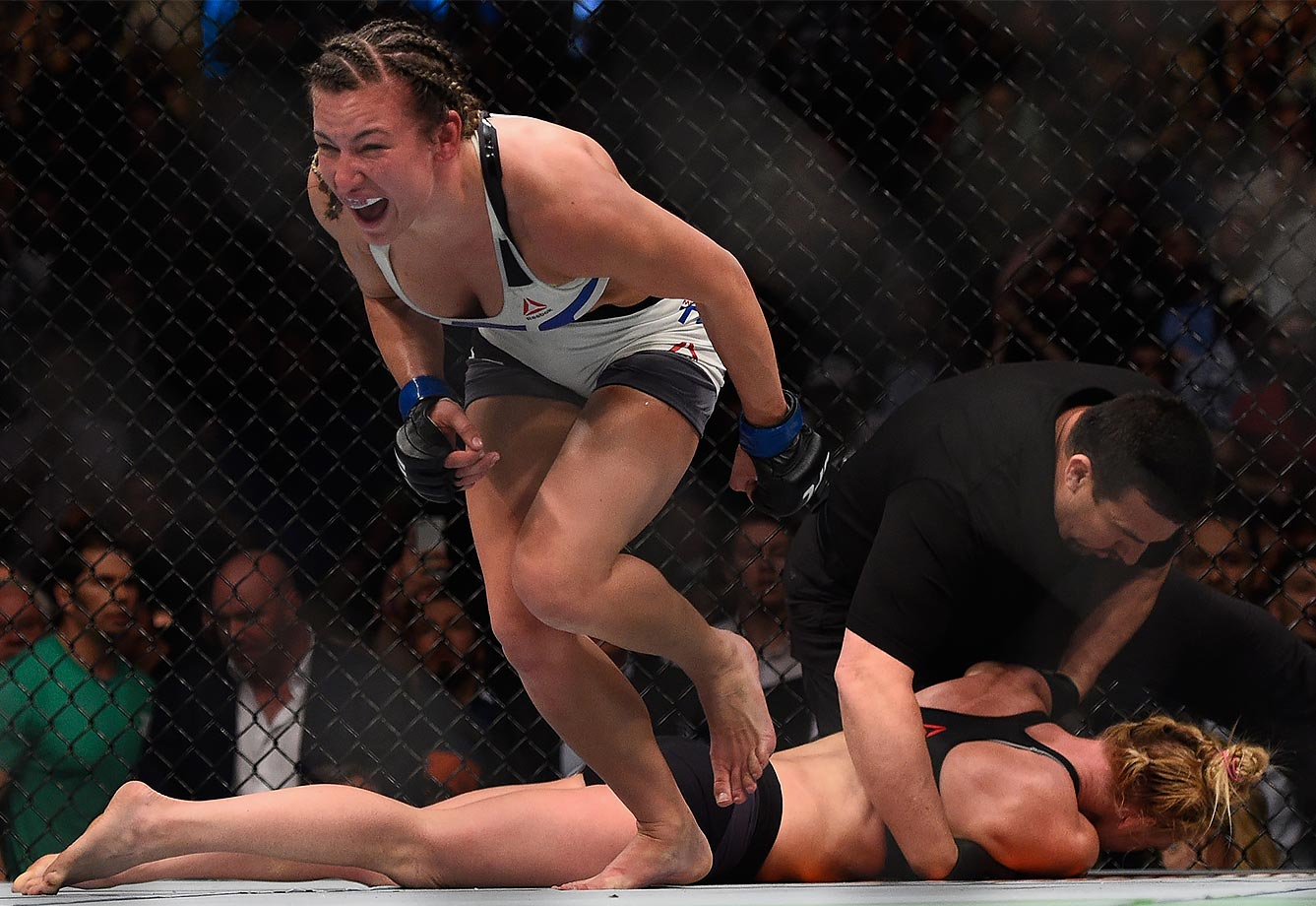 Miesha Tate celebrates after defeating Holly Holm during the UFC 196 event inside MGM Grand Garden Arena on March 5, 2016 in Las Vegas, Nevada.