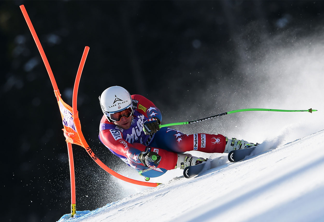 The U.S.'s Andrew Weibrecht competes during the Audi FIS Alpine Ski World Cup men's downhill in Kvitfjell, Norway.