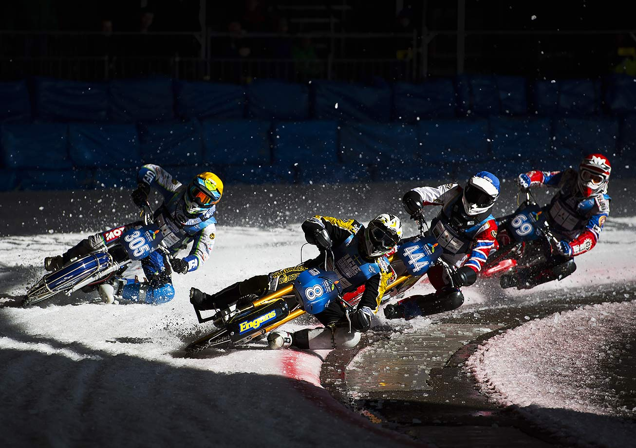 Riders lead in on a turn during the Ice Speedway World Championship Final in Assen, the Netherlands.