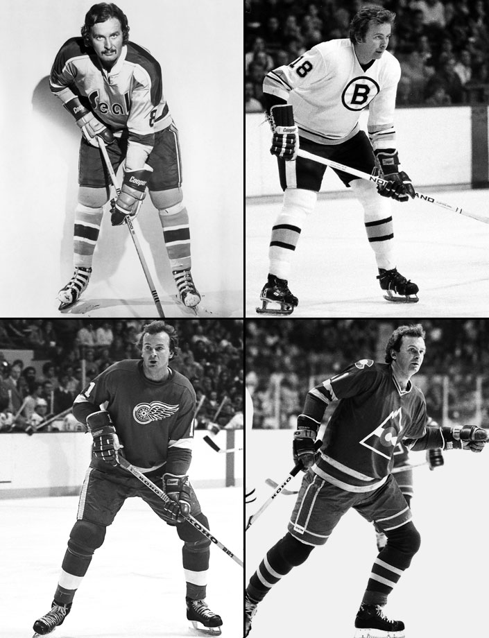 Toronto to WHL Phoenix (10/15/67), WHL Phoenix to Minnesota (2/17/68), Minnesota to California (5/20/71), NY Rangers to Boston (6/12/74), Boston to Detroit (2/18/75), Detroit to Washington (8/17/77), Washington to Cleveland (12/9/77), Minnesota to Toronto (10/5/78), Toronto to Colorado (3/3/1980)