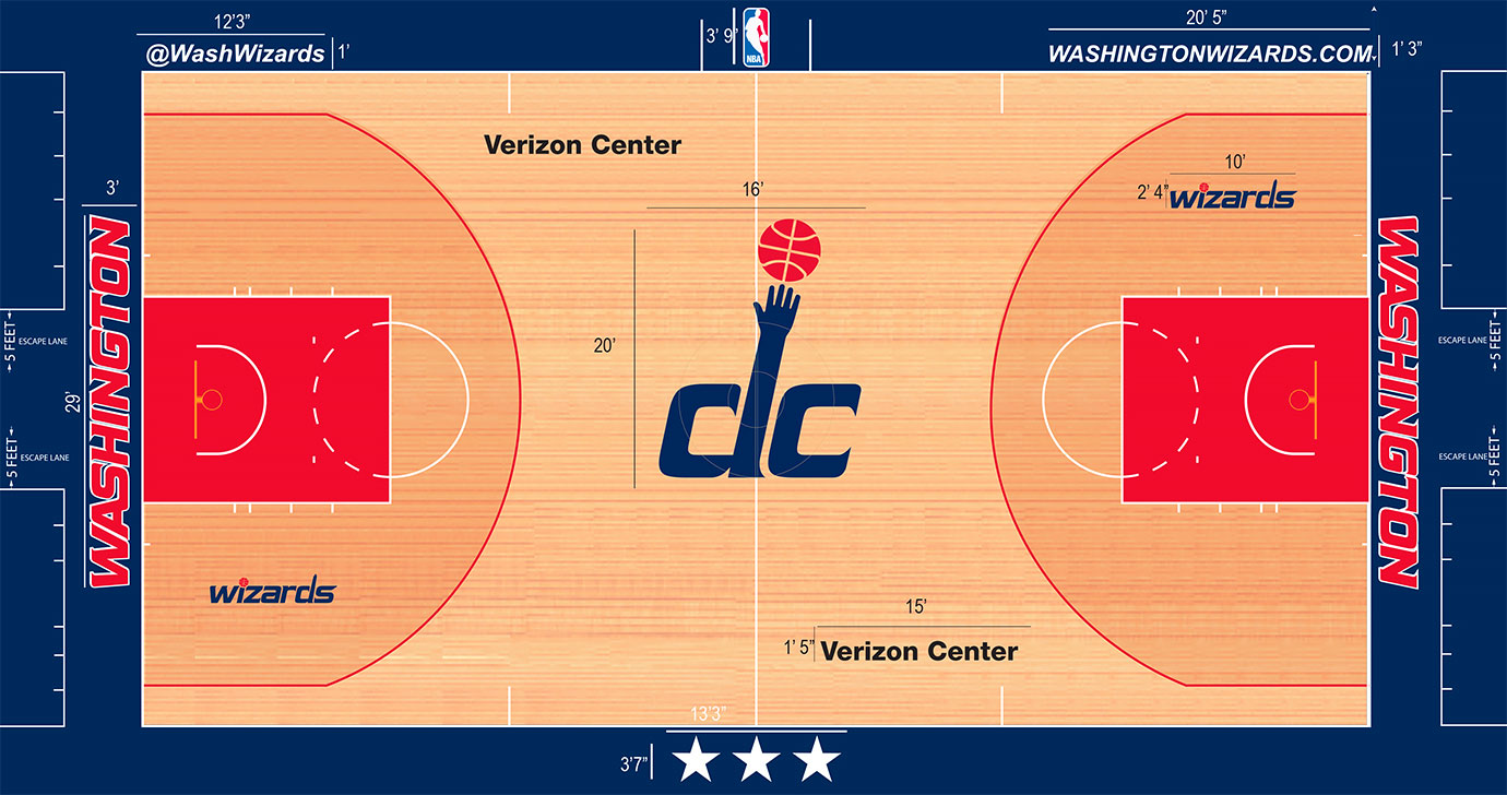 "The Wizards have messed with their floor multiple times over the years and the latest iteration plays up the ""DC"" hand/ball logo in dramatic fashion at center court at 20 feet tall."