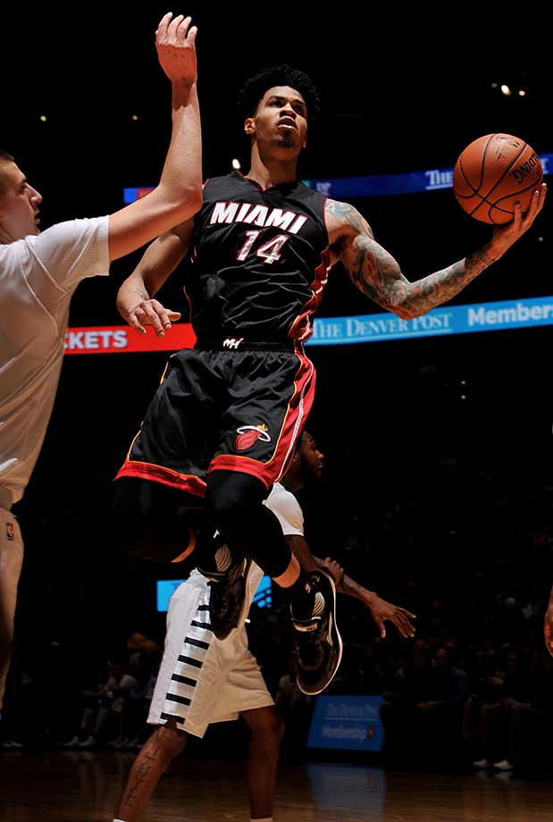 Gerald Green of the Miami Heat goes for a layup during a game against the Denver Nuggets.