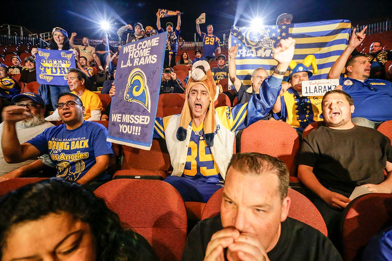 Rams fans at the press conference held by Inglewood Mayor James Butts, Jr. and Los Angeles Rams owner Stan Kroenke at the Forum to celebrate and welcome the team's return to Los Angeles.