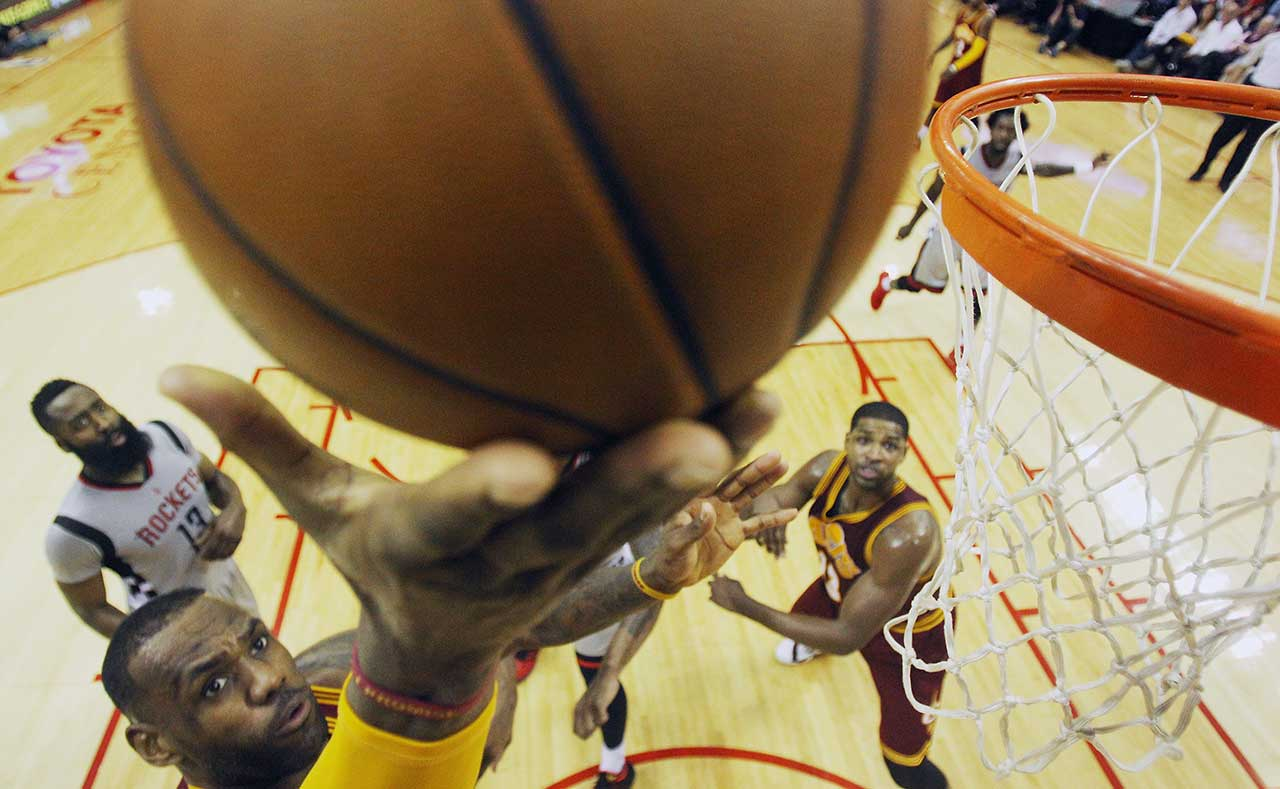 LeBron James takes a shot during a game at Houston.