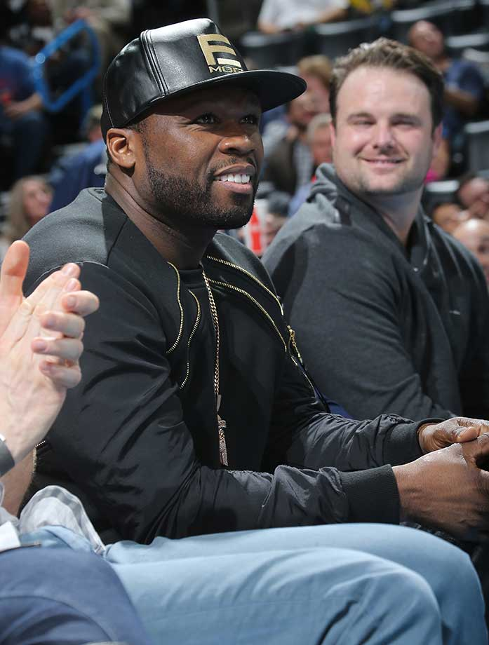 50 Cent watches the Oklahoma City Thunder against the Minnesota Timberwolves at Chesapeake Energy Arena in Oklahoma City.