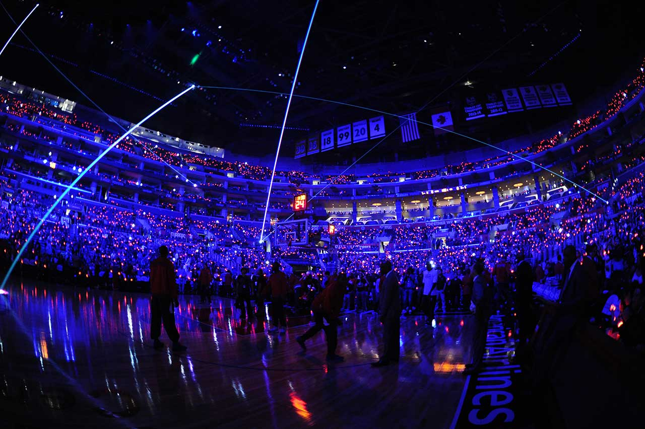 A light show was held before the Los Angeles Clippers faced the Sacramento Kings Saturday night.