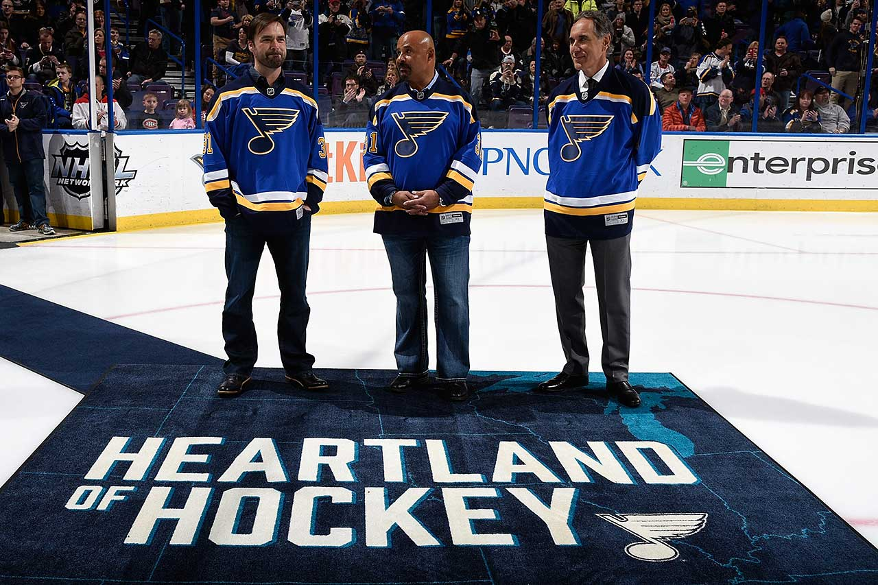 The St. Louis Blues honored former goalies Curtis Joseph, Grant Fuhr and Mike Liut before a game against the Montreal Canadiens.