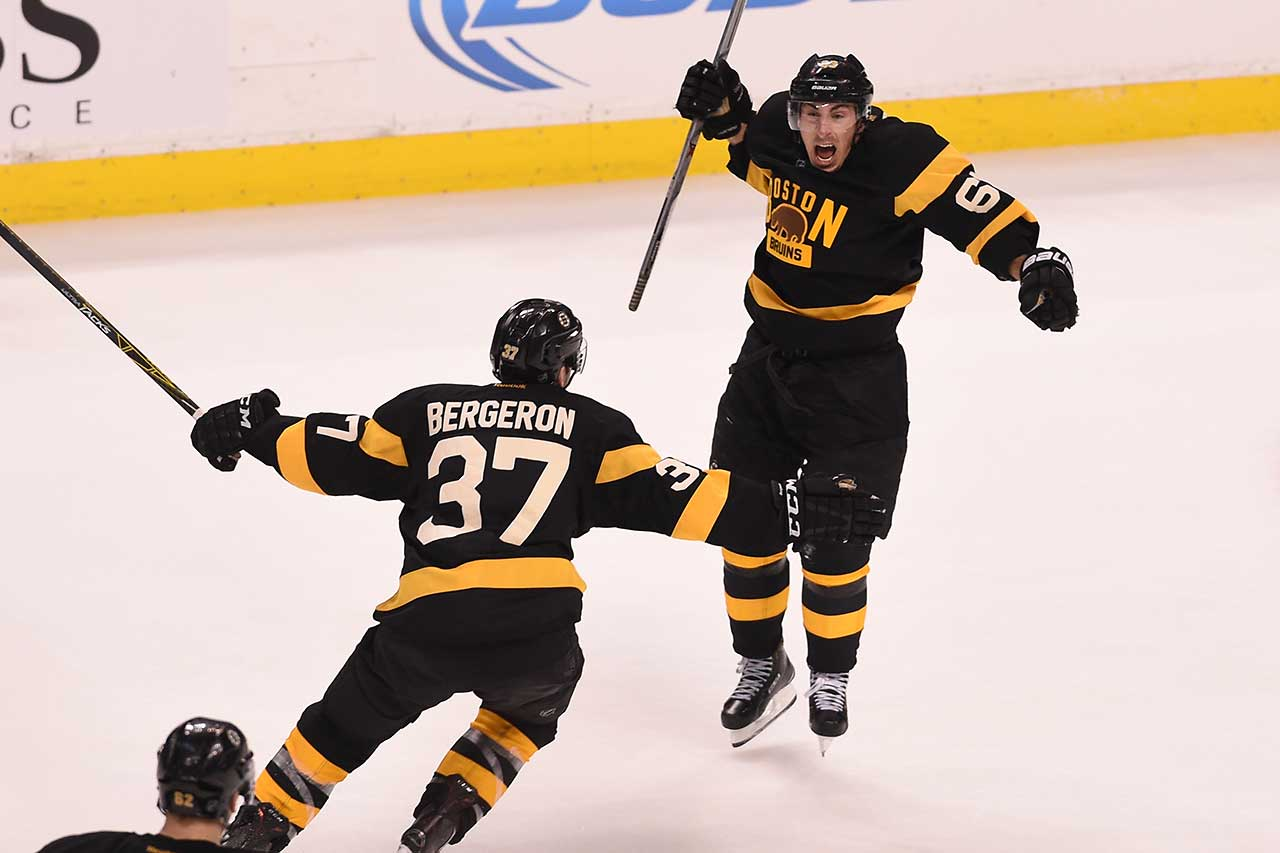 Brad Marchand of the Boston Bruins celebrates a goal against the Toronto Maple Leafs at the TD Garden in Boston.