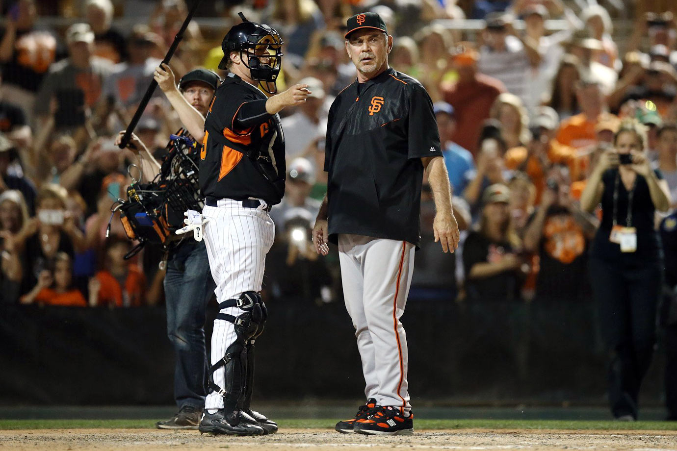 with manager Bruce Bochy