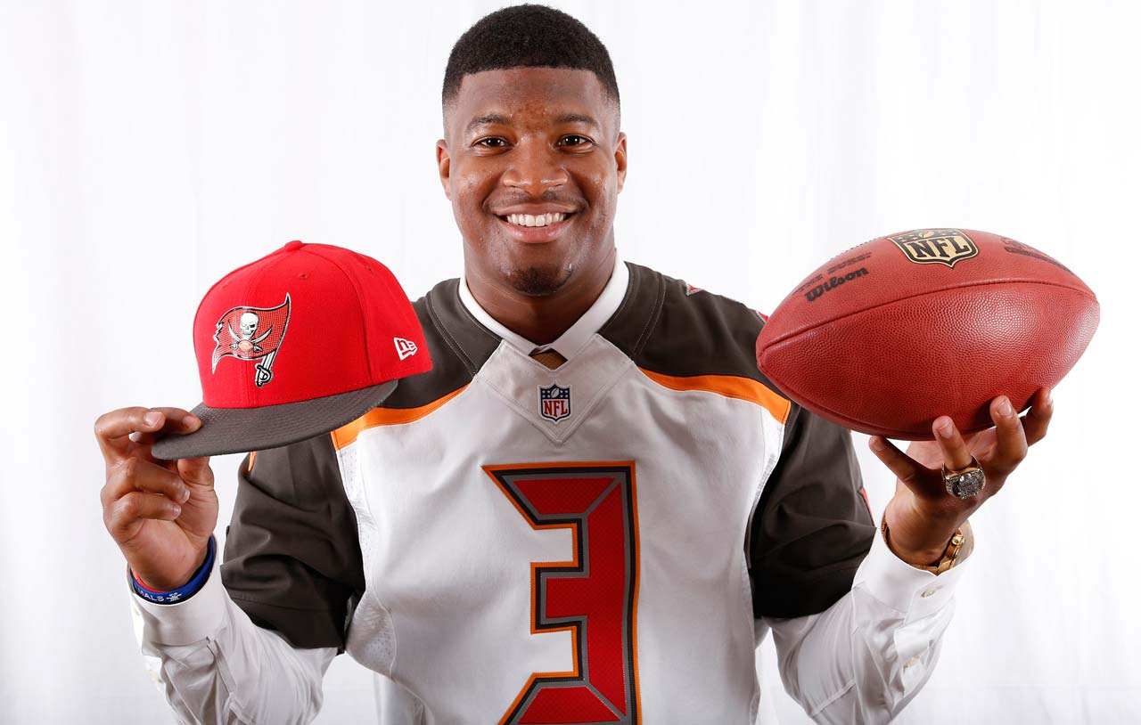 Jameis Winston posed for SI in his new team's jersey after he was taken No. 1.