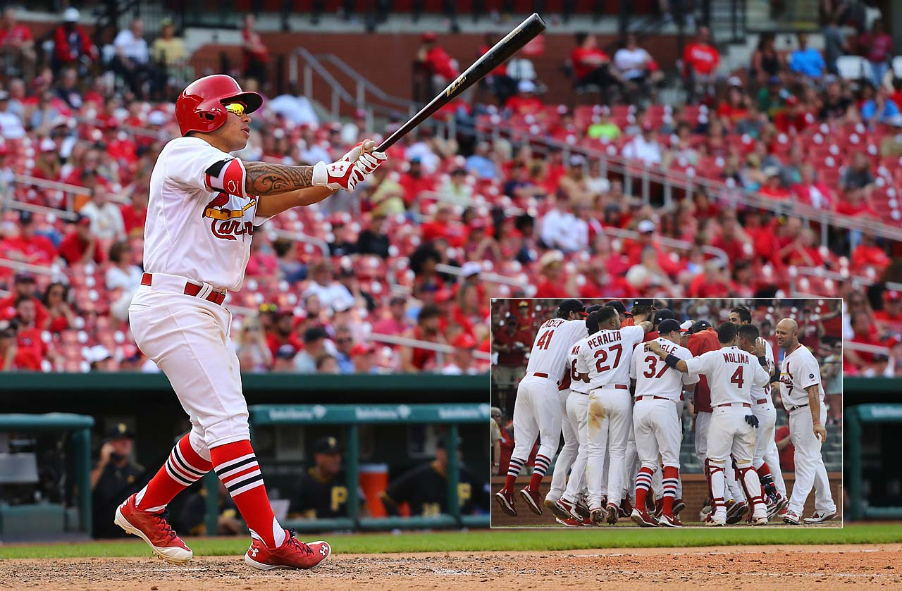 St. Louis second baseman Kolten Wong seals the 3-2 win for his team with a 14th-nning walk-off home run against the Pittsburgh Pirates on May 3.