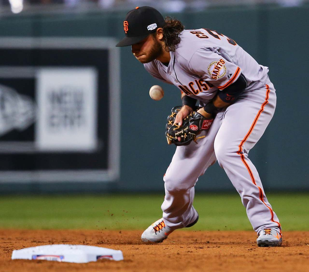 Shortstop Brandon Crawford was charged with an error on this play.