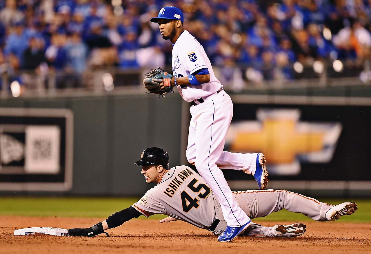Travis Ishikawa was forced out at second by Alcides Escobar in the fifth inning.