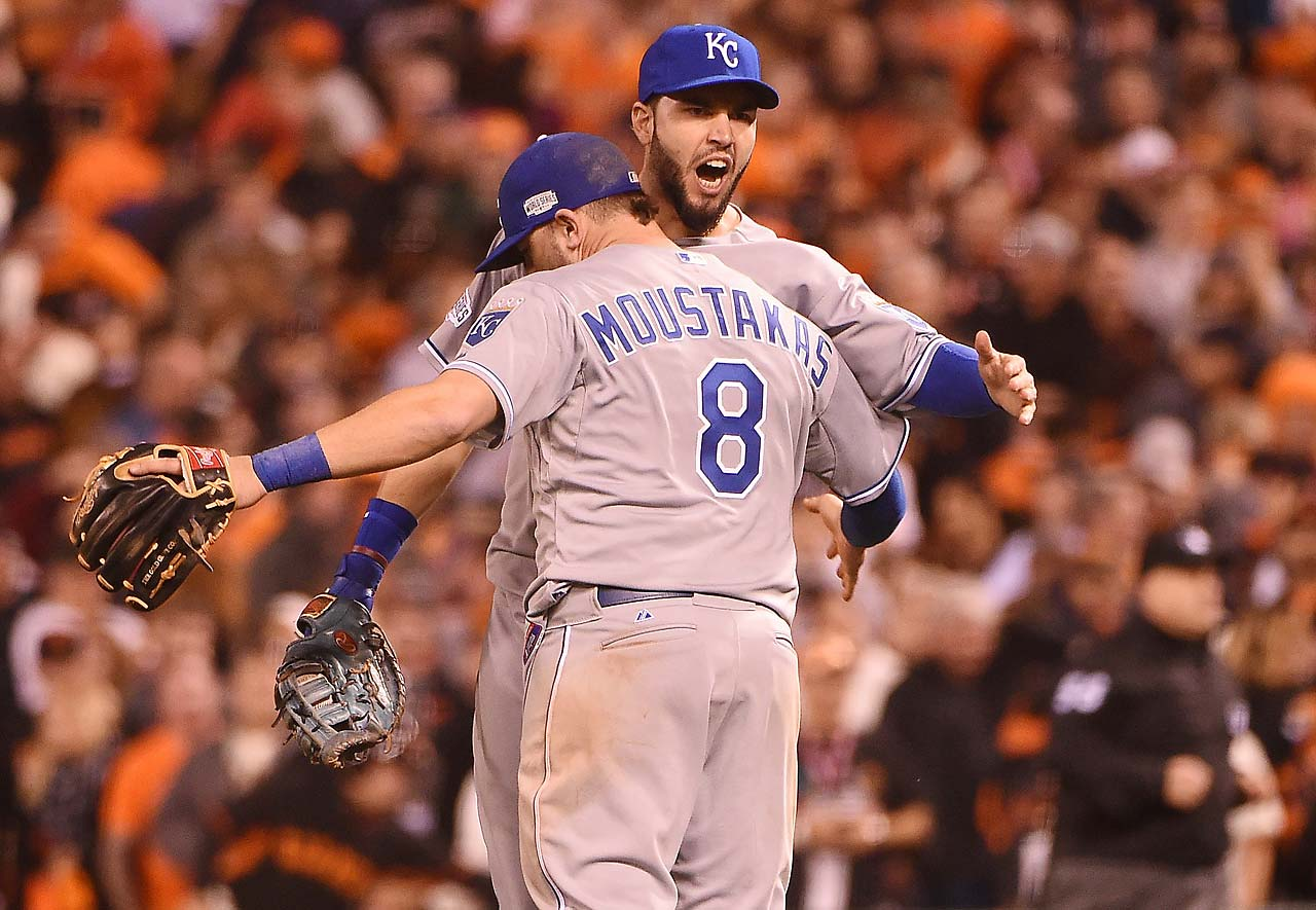 Eric Hosmer and Mike Moustakas celebrate a job well done. Teams that have won Game 3 of the World Series have gone on to win the title 67 percent of the time.
