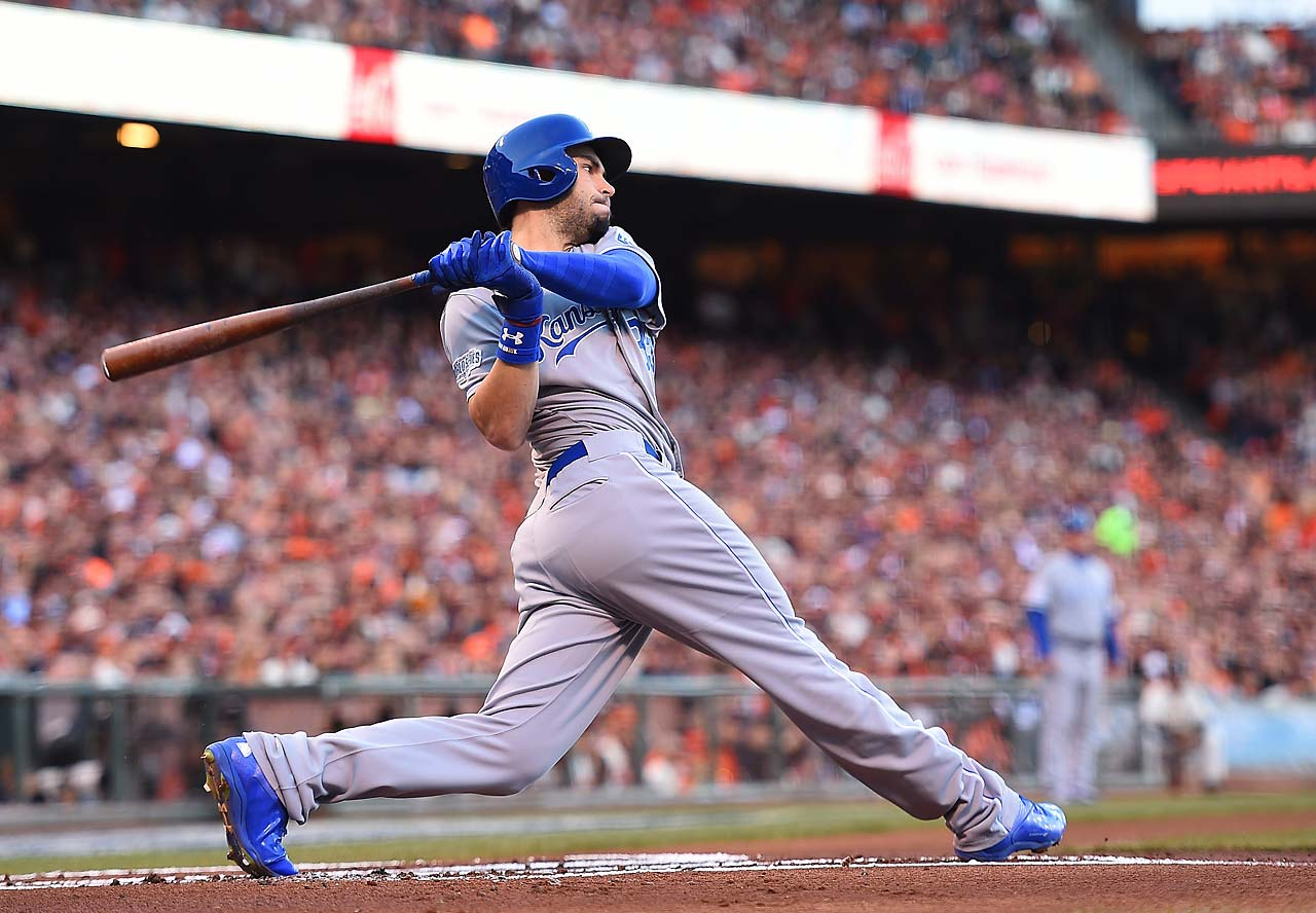 Eric Hosmer and the Royals have now gone 15 consecutive innings without scoring against the Giants and 20 of 21 innings stretching back to Game 3.