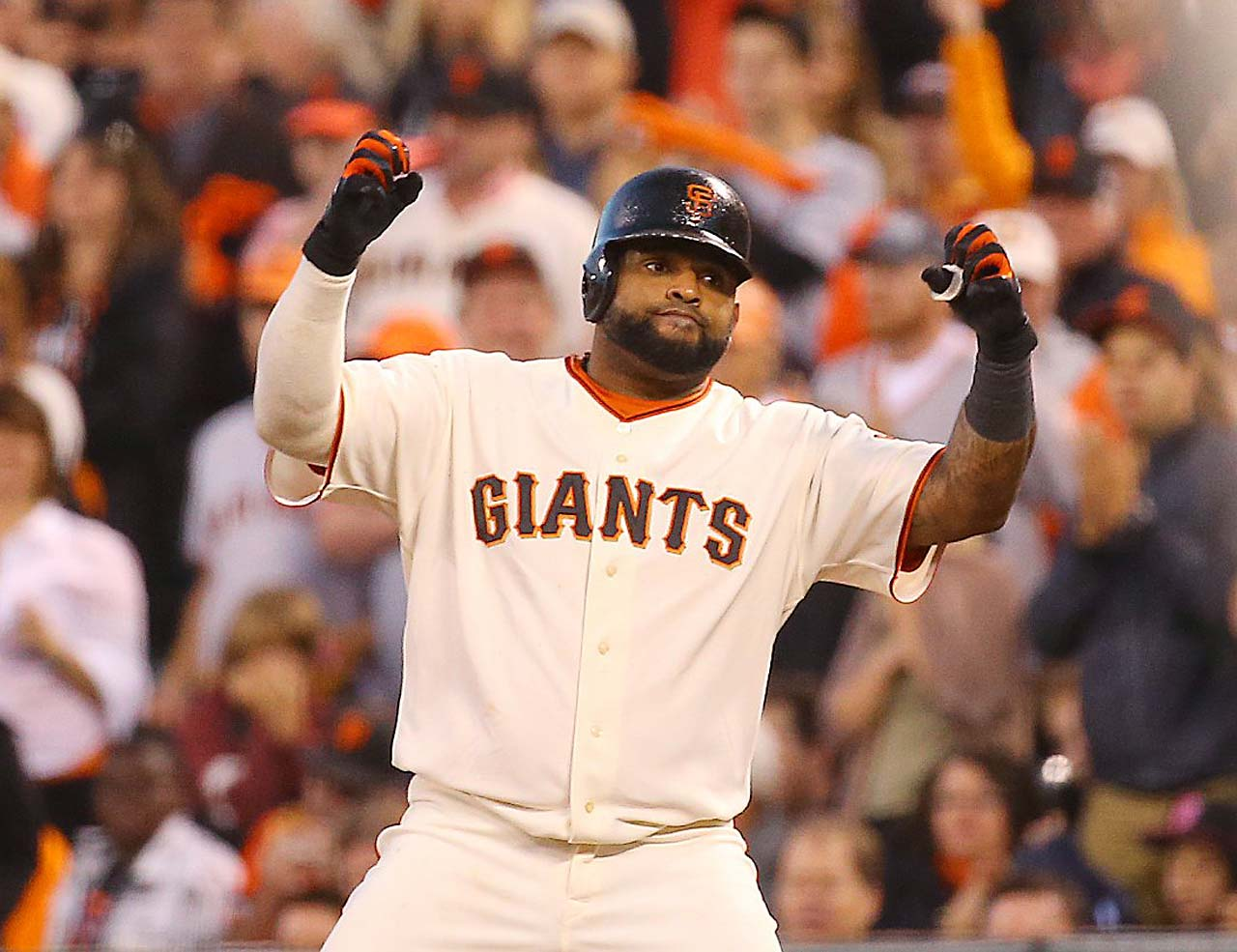 Pablo Sandoval reached base twice and ended up scoring both times.