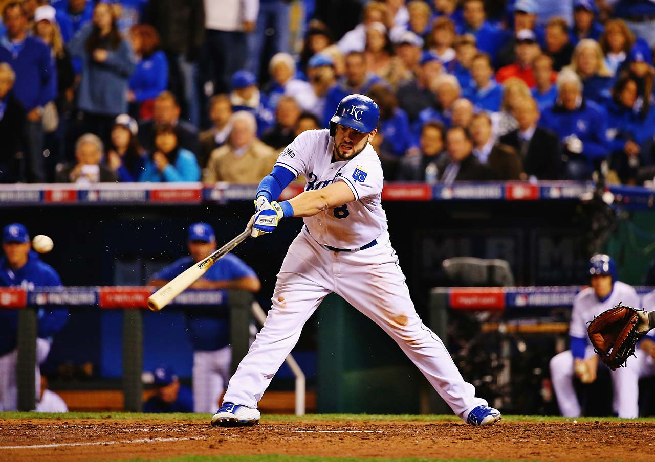 Mike Moustakas breaks his bat while facing Bumgarner in the seventh inning. The Royals got only two hits against him in Game 7.