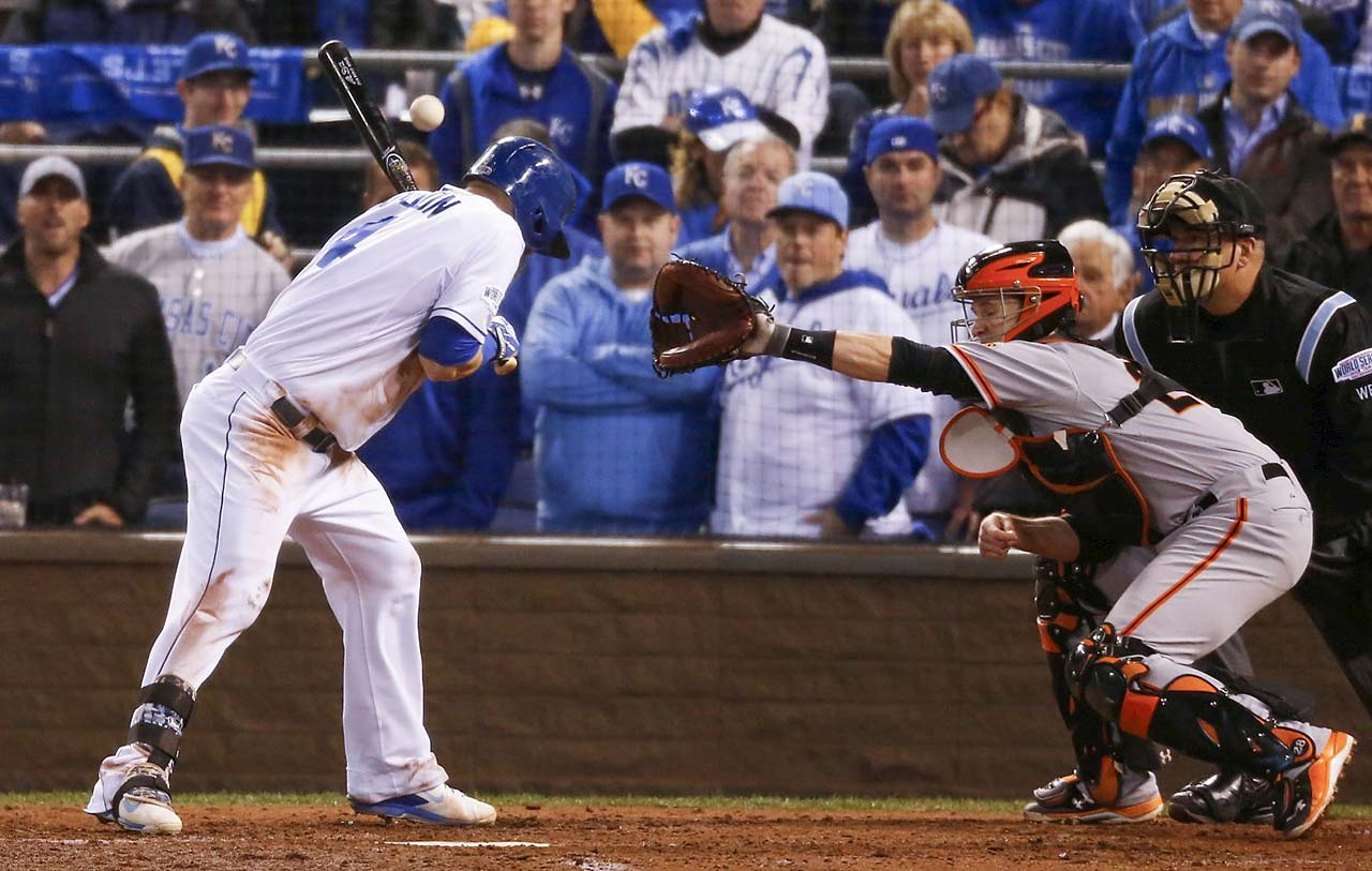 Alex Gordon was hit by a Jeremy Affeldt pitch in the fourth inning.