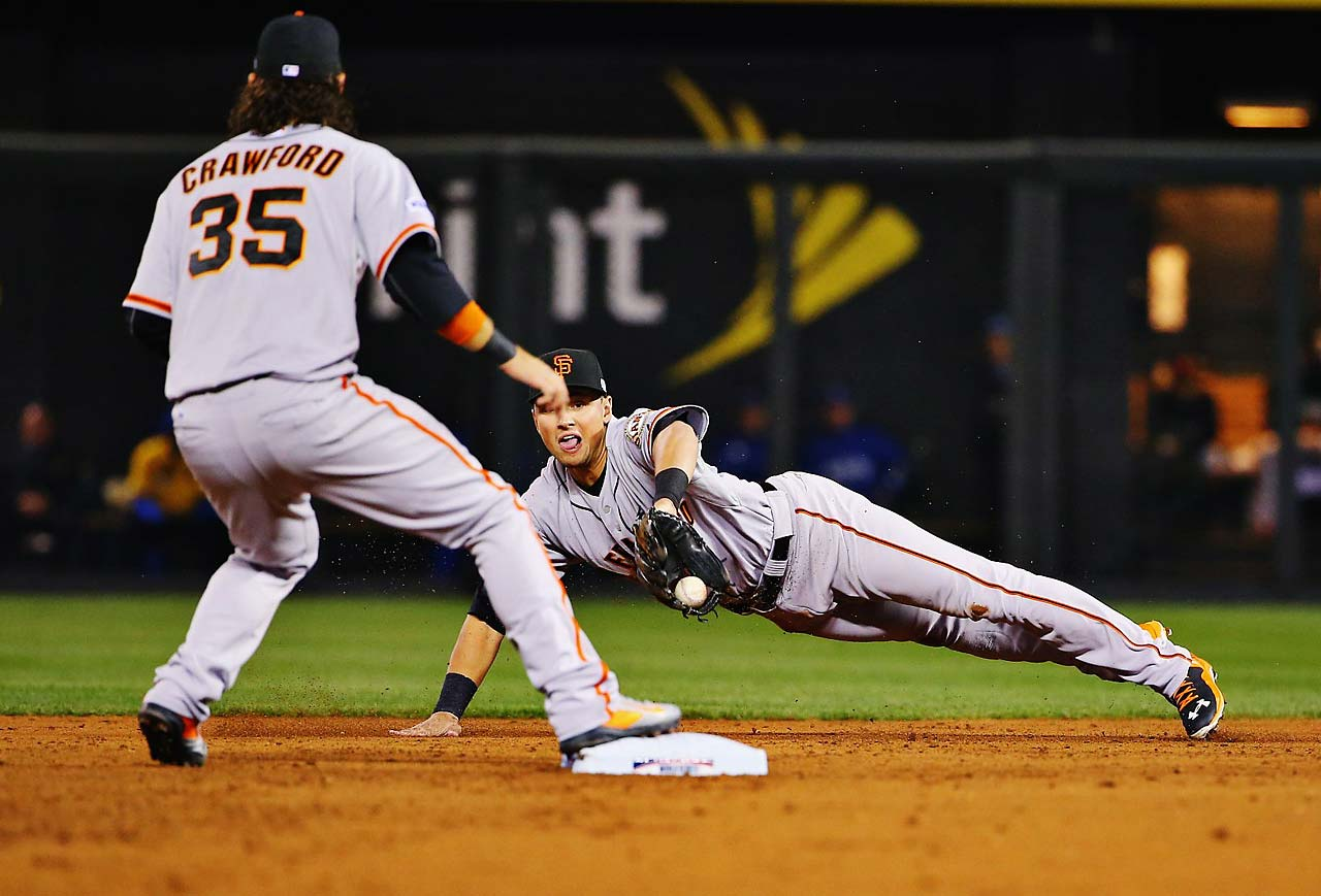 Joe Panik make a superb defensive play with the game tied at 2-2 in the third inning, flipping the ball out of his glove to start a double play.