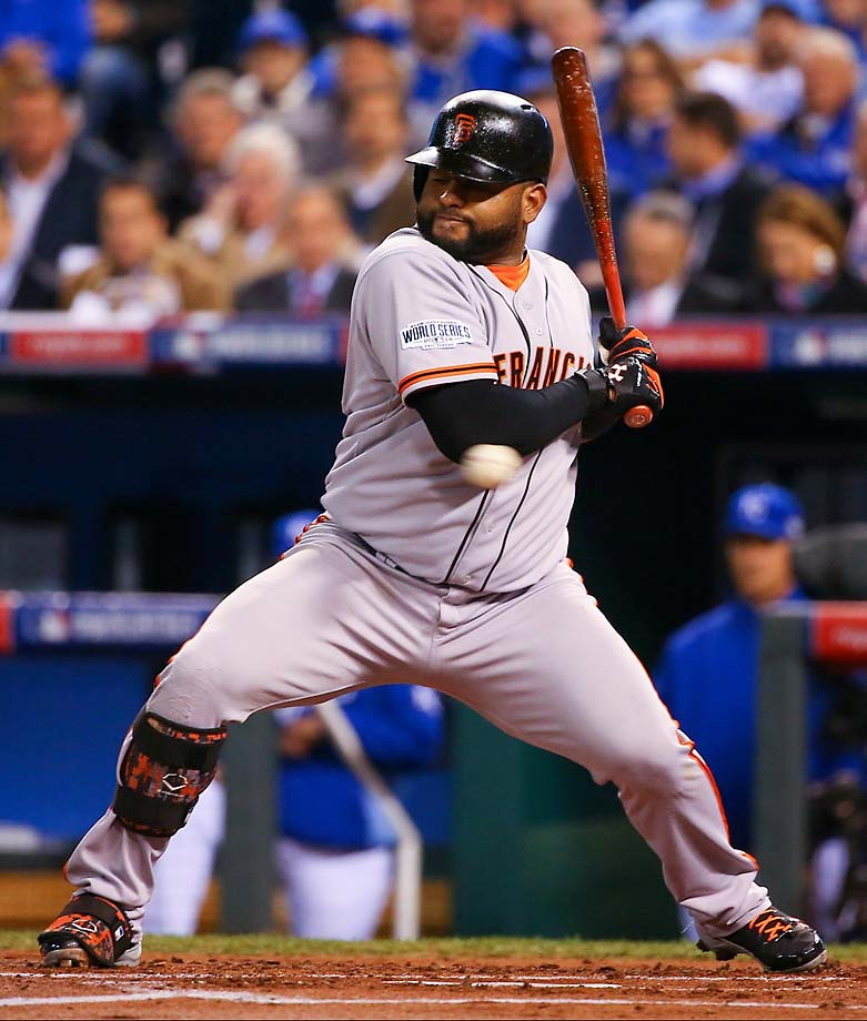 Pablo Sandoval was hit by a pitch and had three hits on the night.