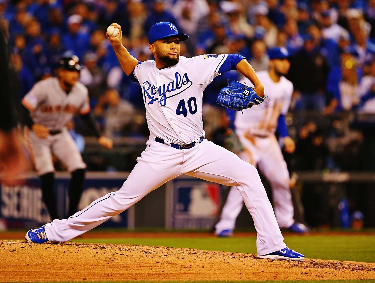 Kelvin Herrera struck out four Giants in 2 2/3 innings after relieving starter Jeremy Guthrie.