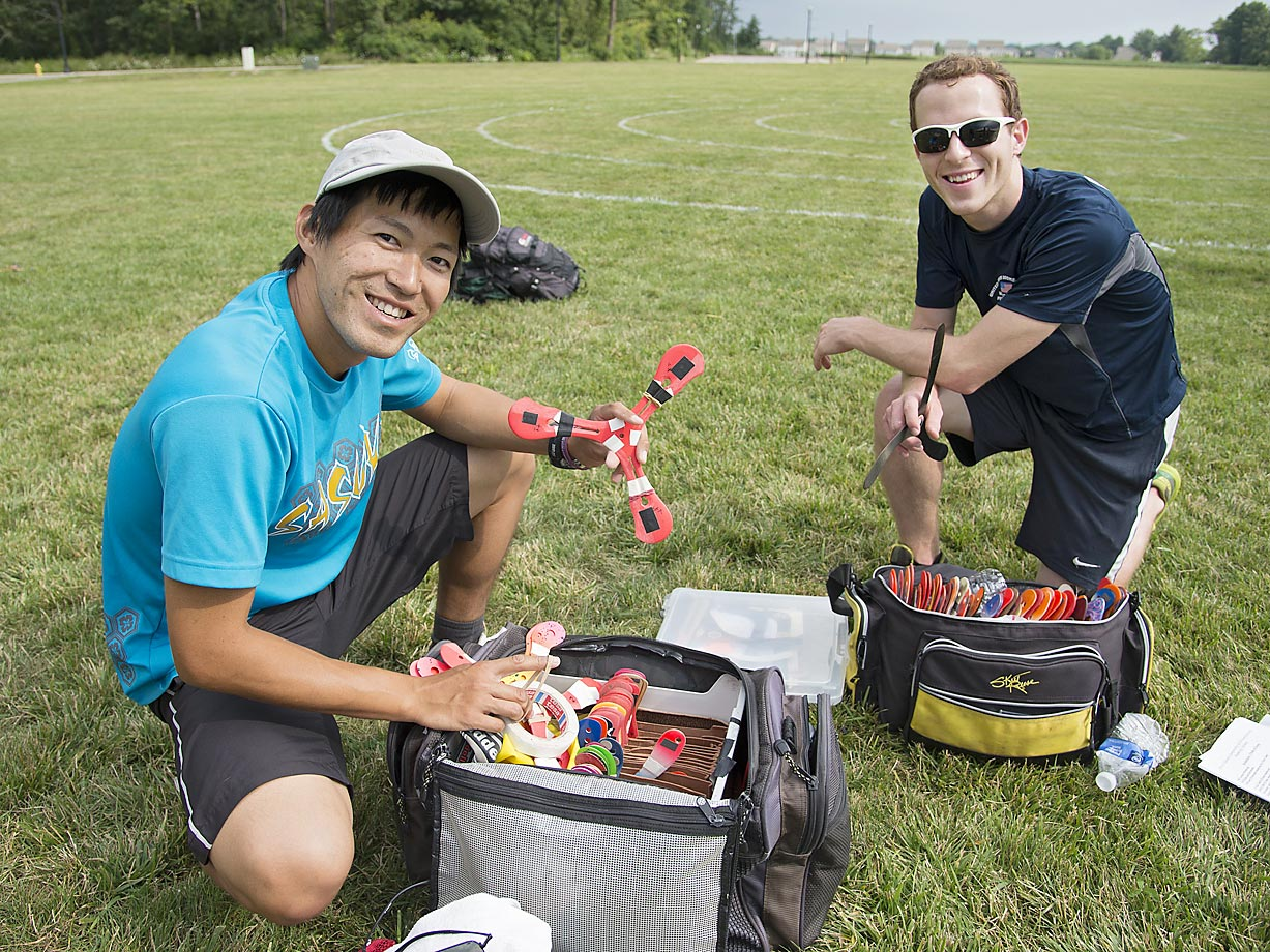Takeshi Honda and Logan Broadbent with their competition boom kits.