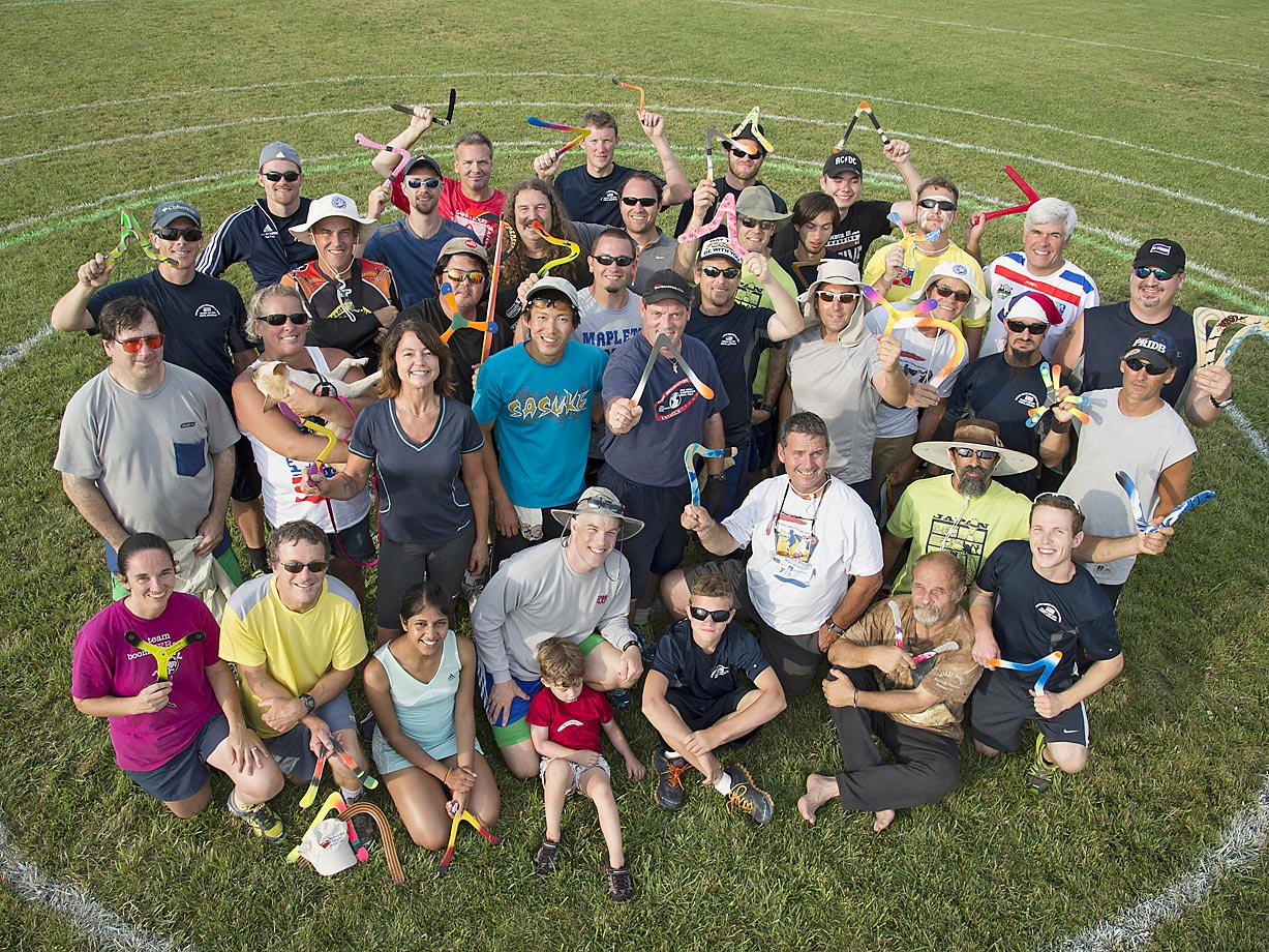 A group shot of the competitive throwers at this year's U.S. National Boomerang Championship, held in Delaware, Ohio.