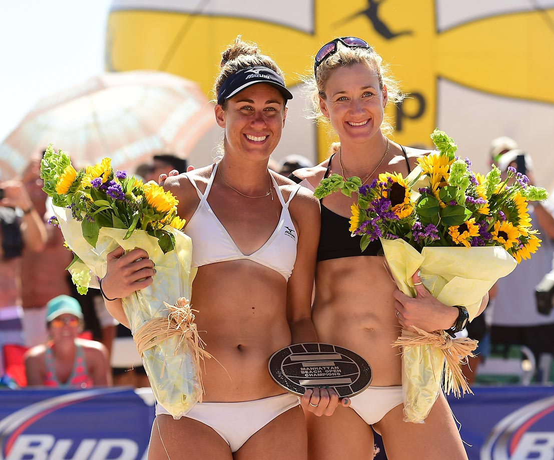 Women's Open champs April Ross and Kerri Walsh Jennings.