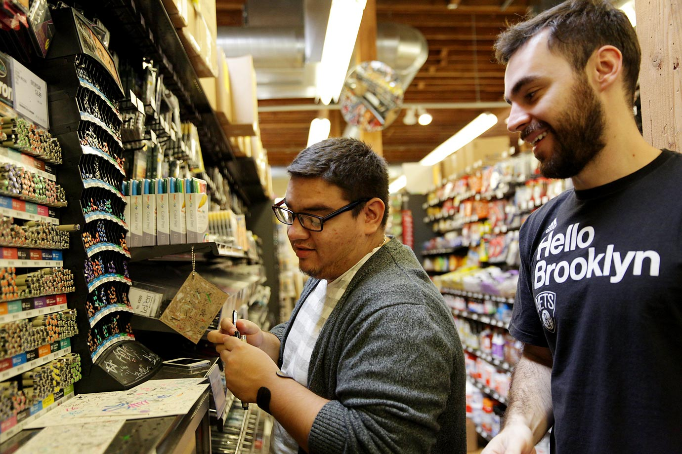 On a trip to Blicks Art Materials in northwest Portland, Jesus Garate (representing Mexico) and Guilherme Lemes (Brazil) were encouraged to look for inspiration, and ideas, down every aisle.