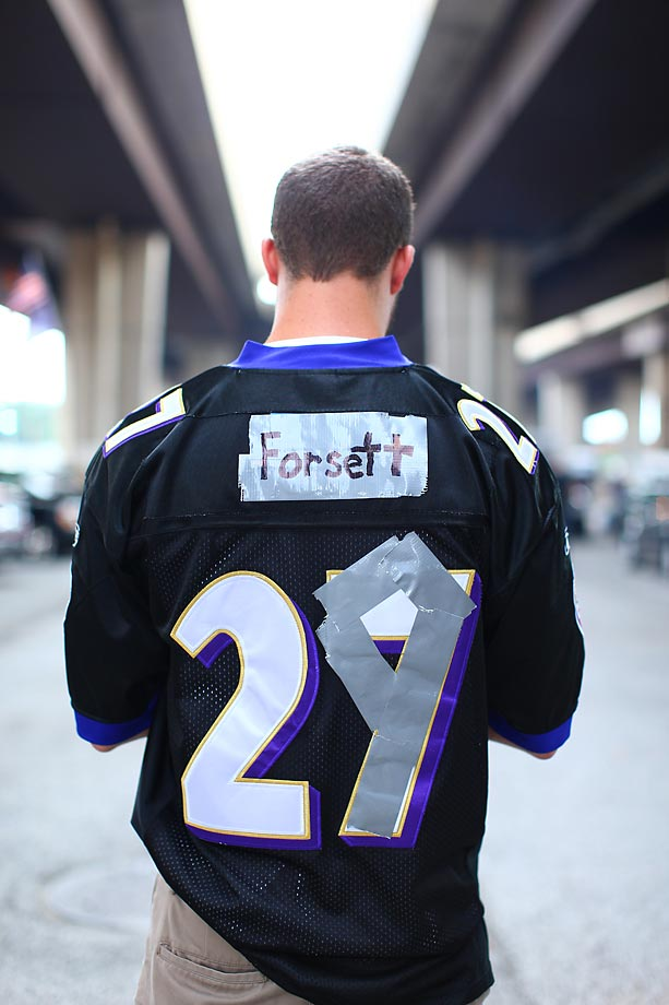 A former Ray Rice fan with a jersey altered to support one of the Ravens new feature backs, Justin Forsett.