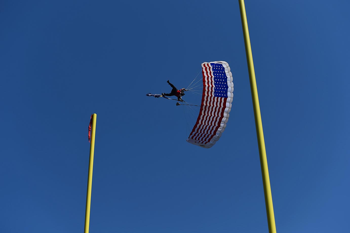 A parachuter at the Seahawks-Chargers game.