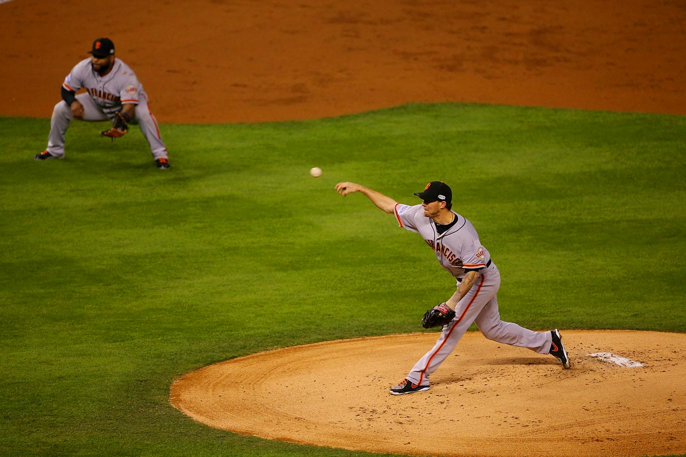 San Francisco Giants starting pitcher Jake Peavy in the first.