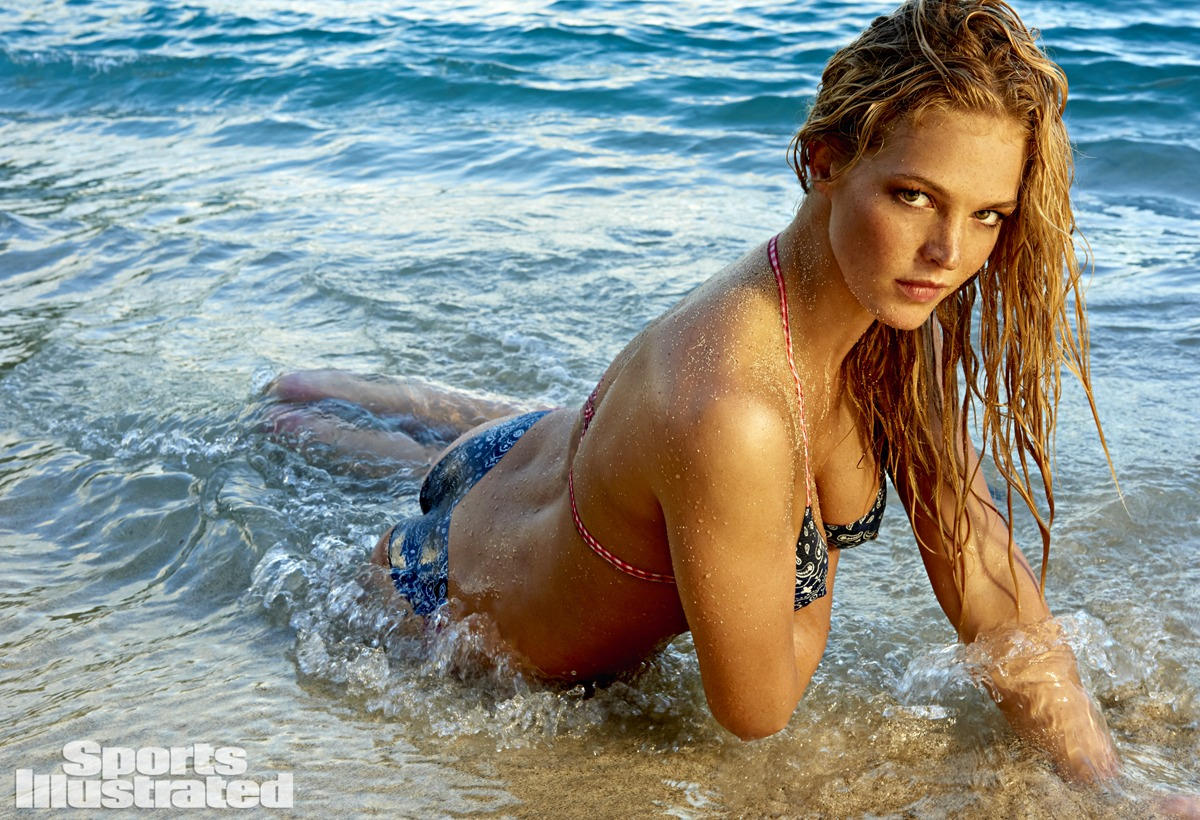 Erin Heatherton was photographed by Yu Tsai in St. John, US Virgin Islands. Bodypainting by Joanne Gair. Swimsuit inspired by MilkBaby Bikini by Cat Thordarson.
