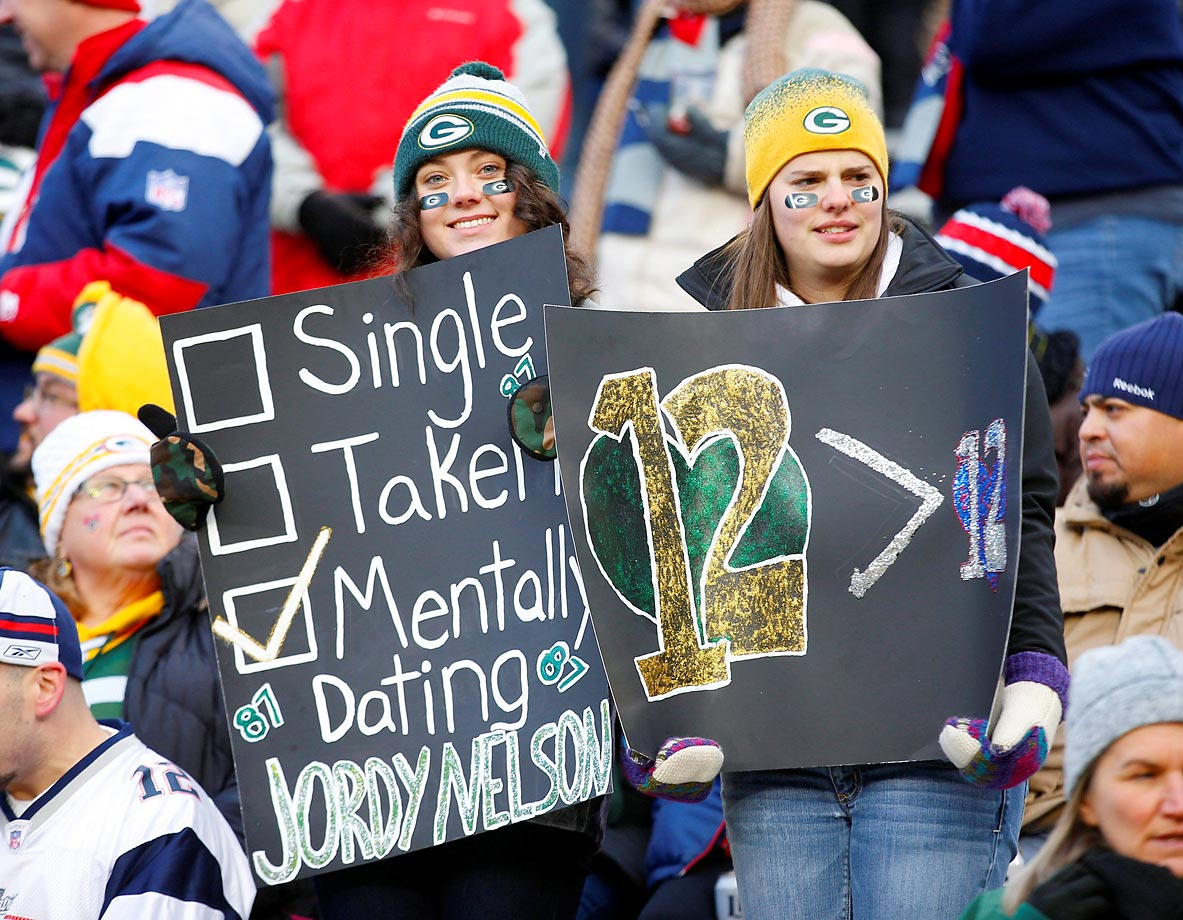 Frisky Green Bay fans at the game against the Patriots.