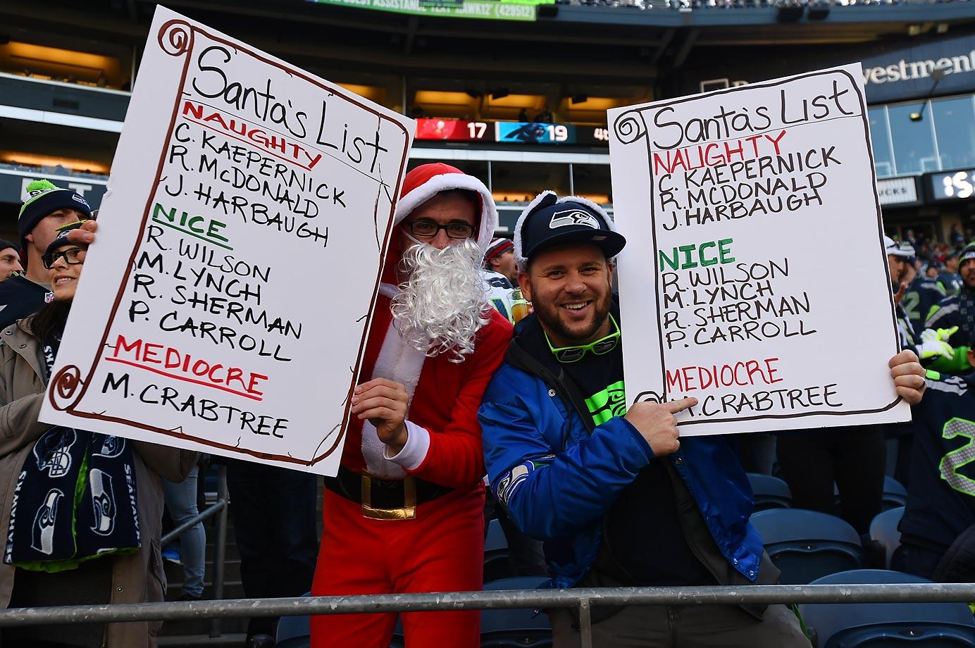 Santa's naughty and nice lists.