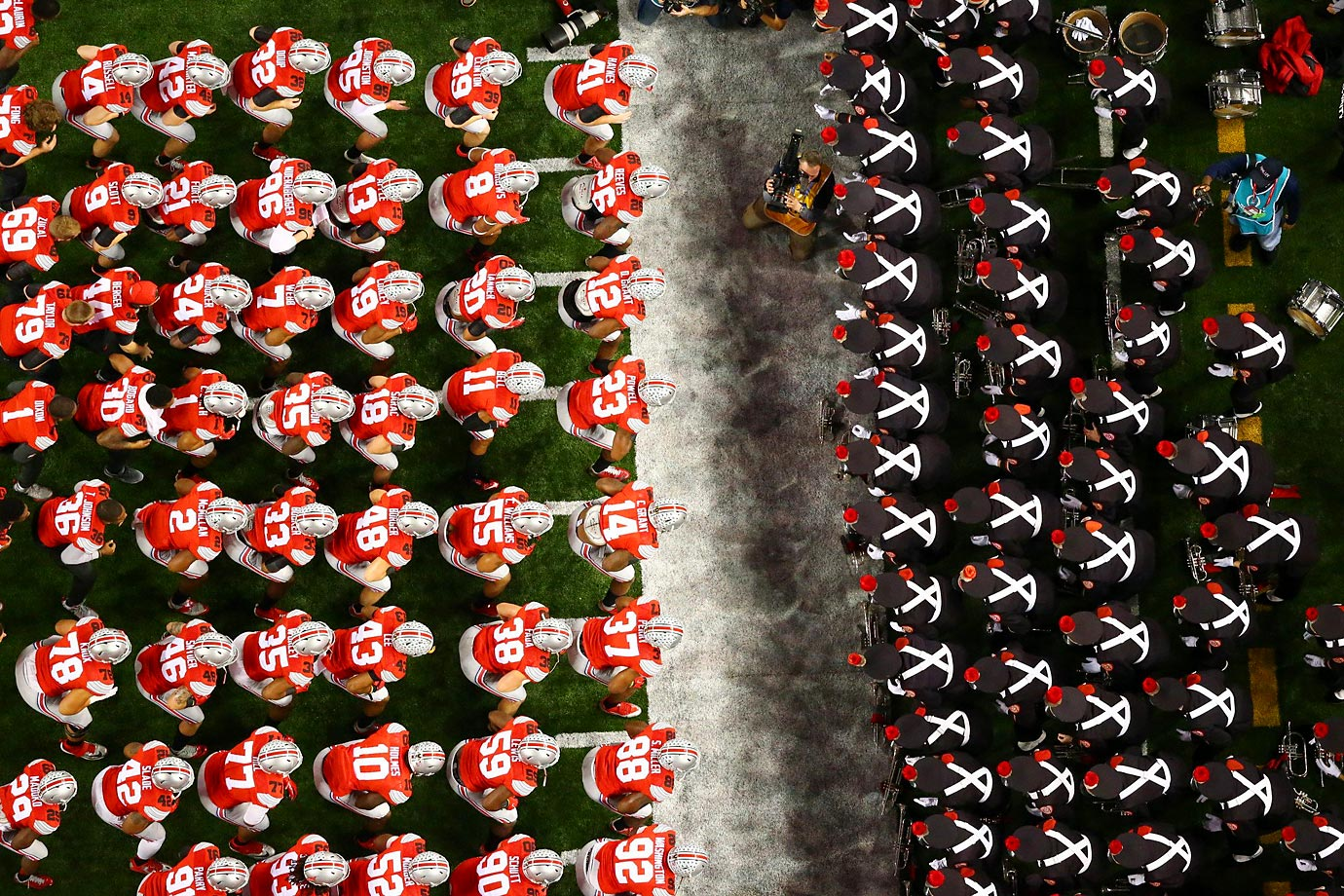 After tripping on the cheerleaders on the way out to the field, Ohio State mistakenly lined up against the wrong squad.
